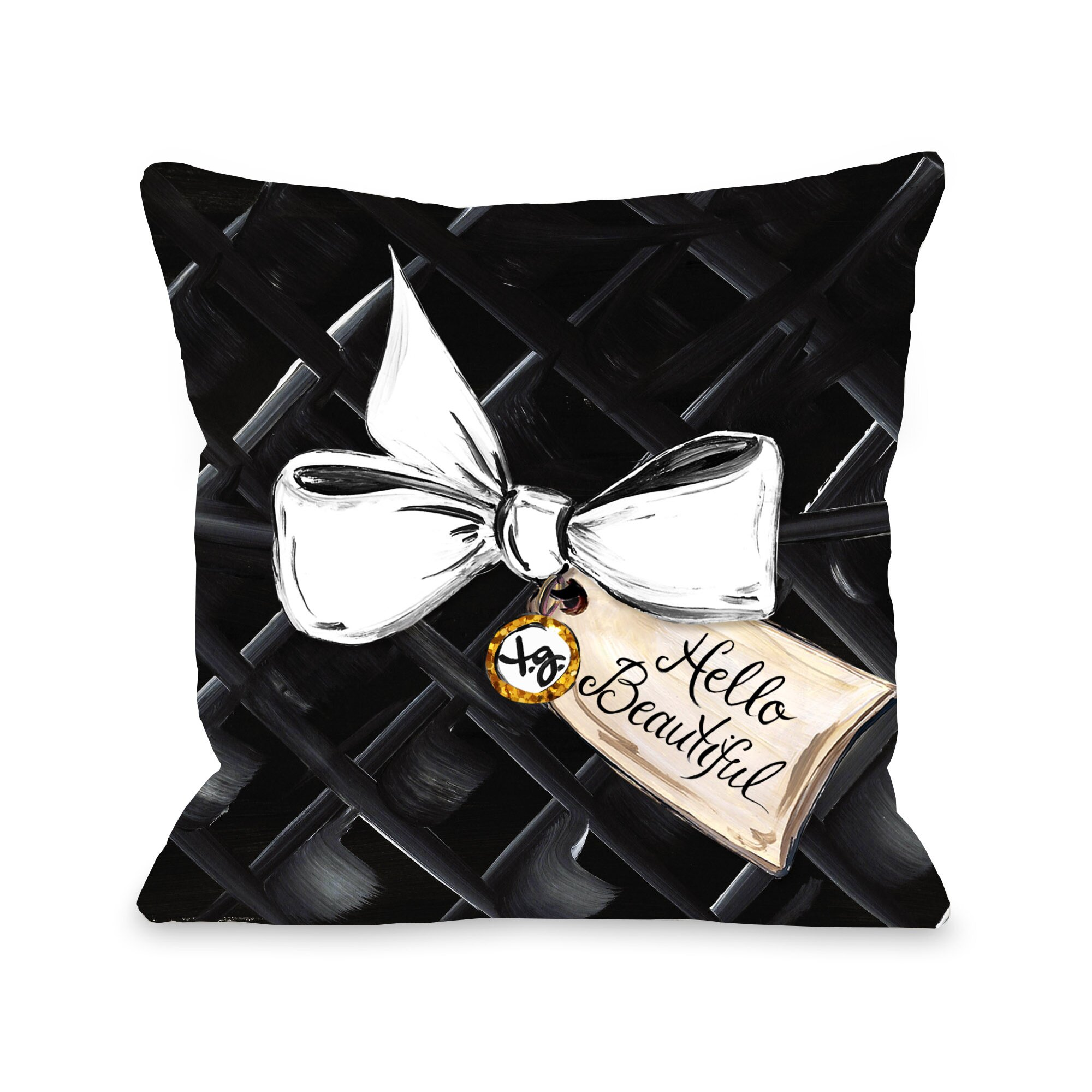 Hello Beautiful Decorative Pillow : One Bella Casa Hello Beautiful Bow Glitter Throw Pillow & Reviews Wayfair