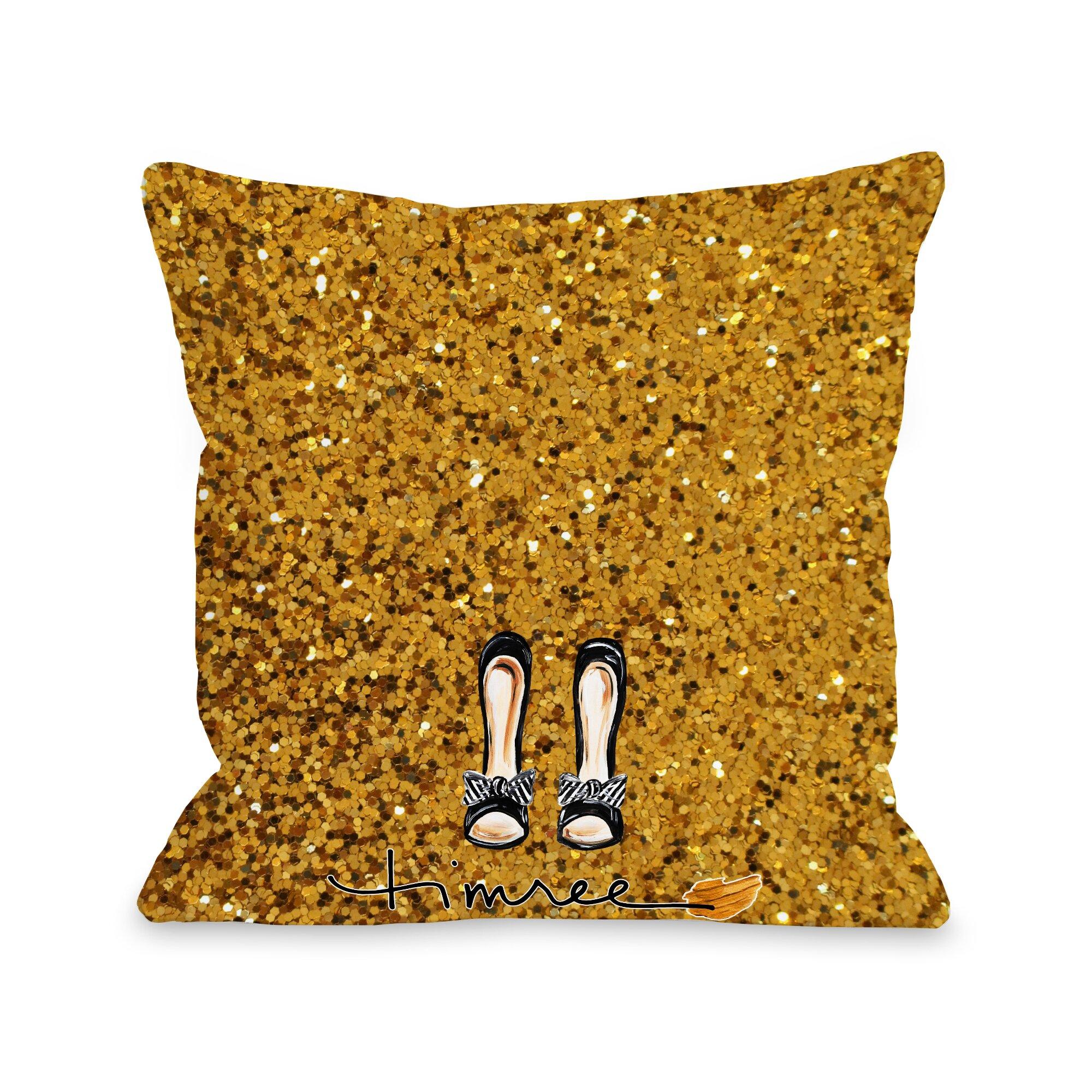 One Bella Casa Hello Beautiful Bow Glitter Throw Pillow & Reviews Wayfair