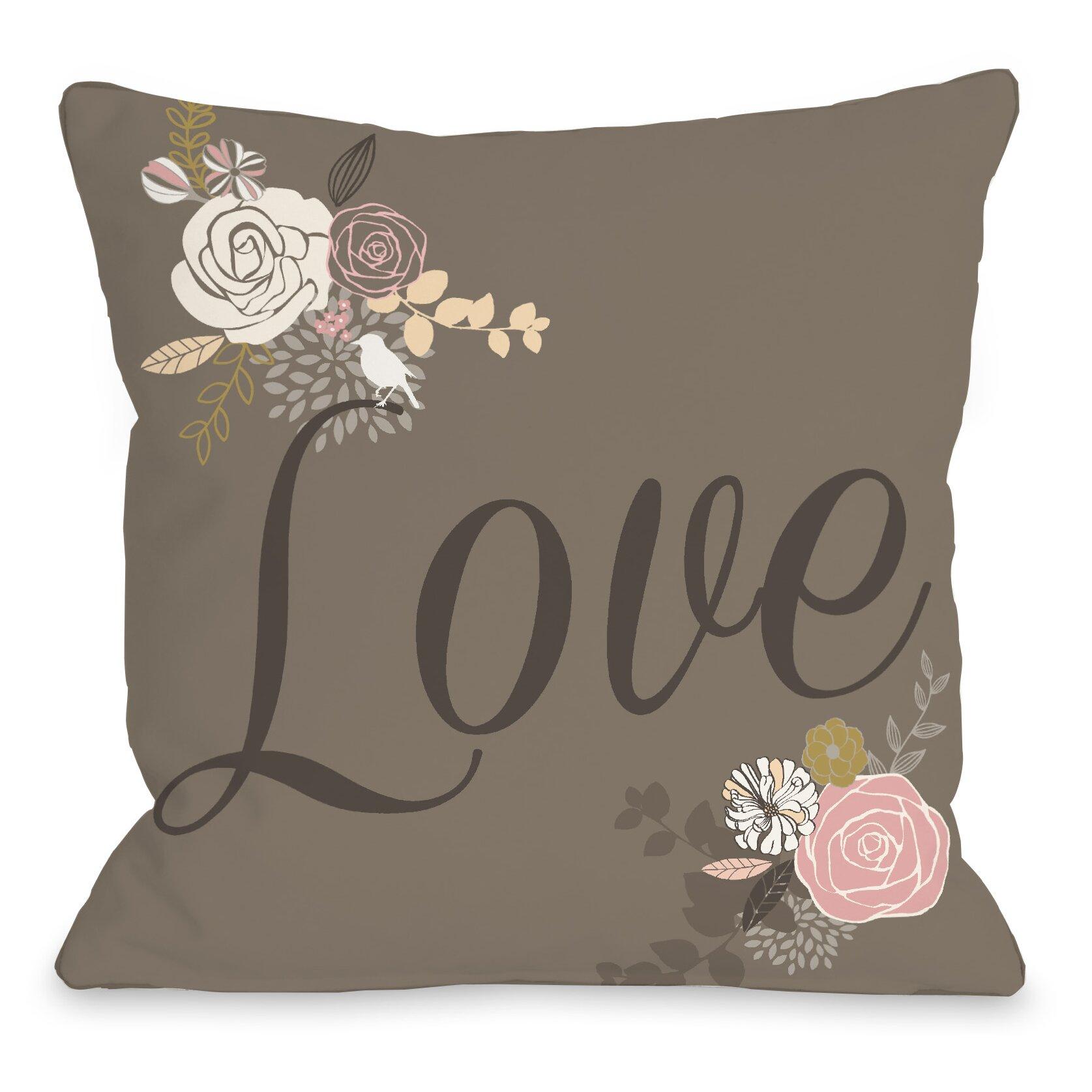 Throw Pillow Love : One Bella Casa Love Not Reversed Throw Pillow & Reviews Wayfair