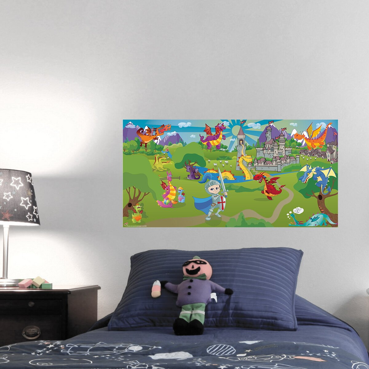 Mona melisa designs knight dragon wall mural wayfair for Dragon mural for wall