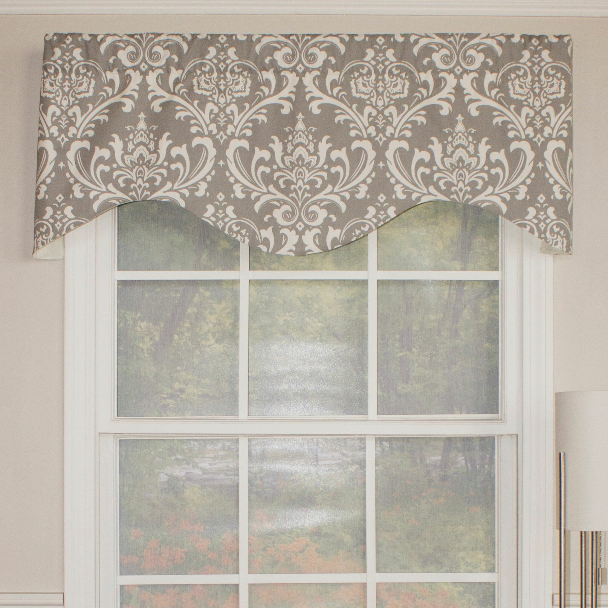 Rlf home royal damask cornice 50 curtain valance for Window valance