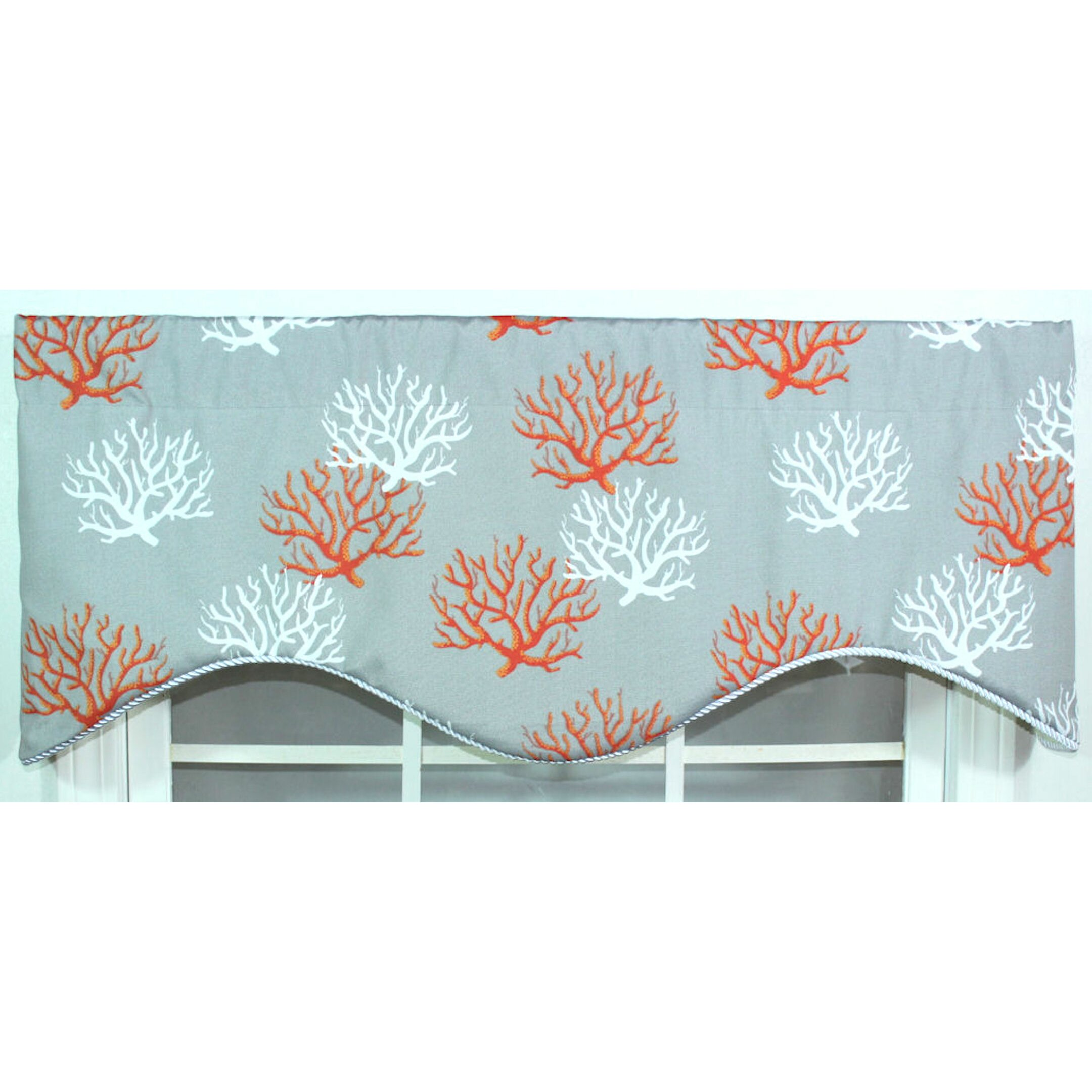 "RLF Home Sea Coral Cornice 50"" Curtain Valance & Reviews"