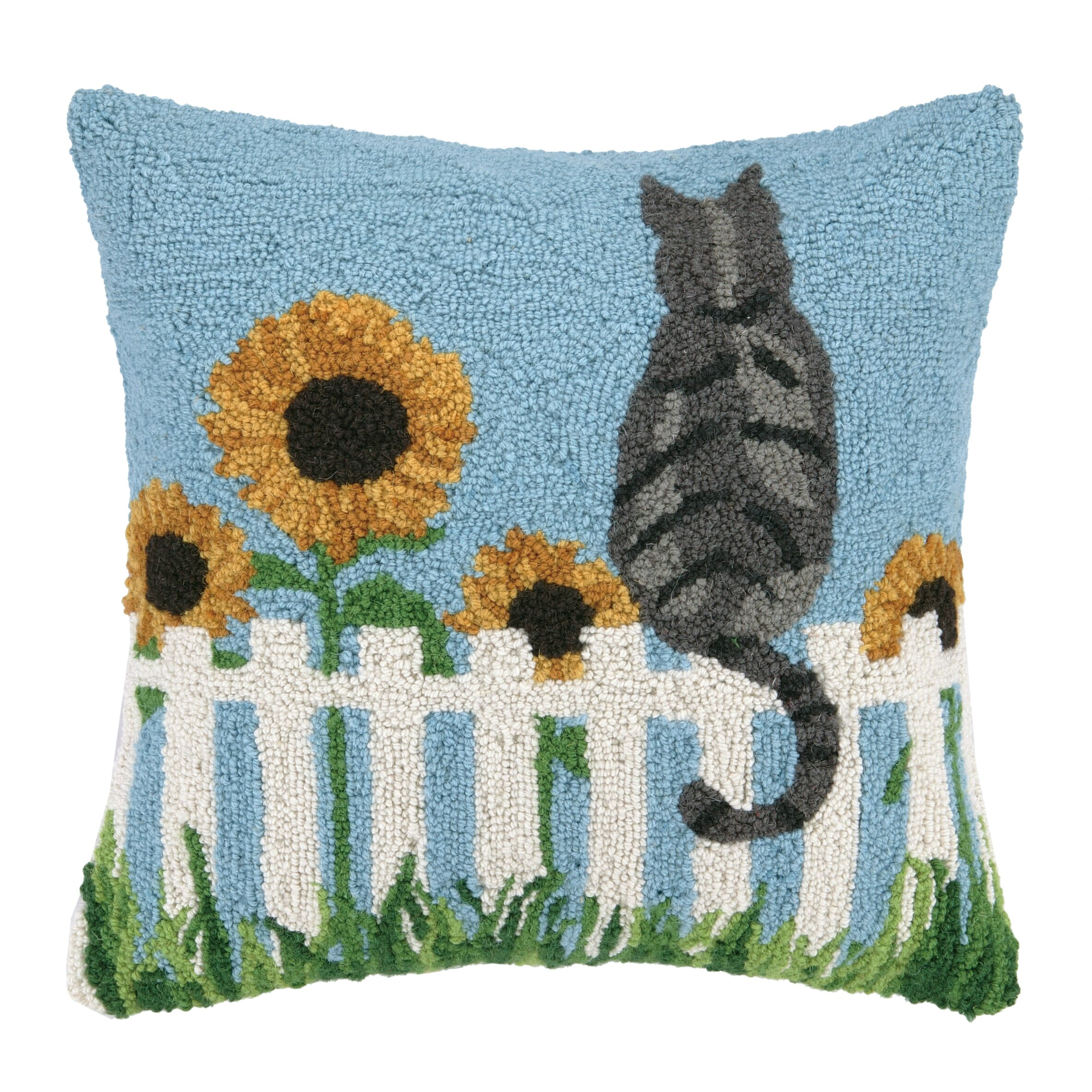 Peking Handicraft Cat And Sun Flowers Hook Wool Throw
