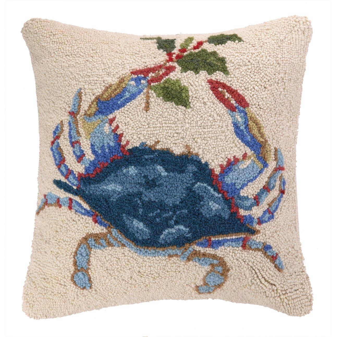 Peking Handicraft Holiday Crab Hook Wool Throw Pillow & Reviews Wayfair