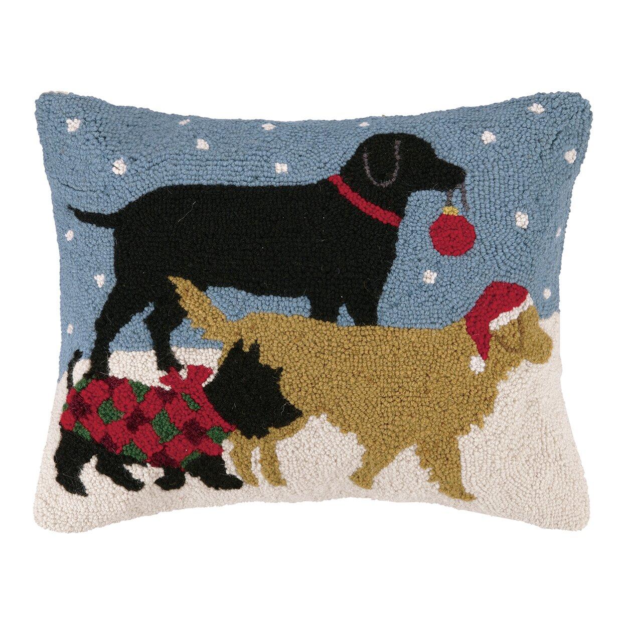 Peking Handicraft Holiday Pups Hook Wool Throw Pillow & Reviews Wayfair