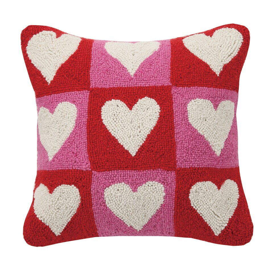 Decorative Valentine Pillows : Peking Handicraft Checkered Heart Valentine s Hook Wool Throw Pillow & Reviews Wayfair