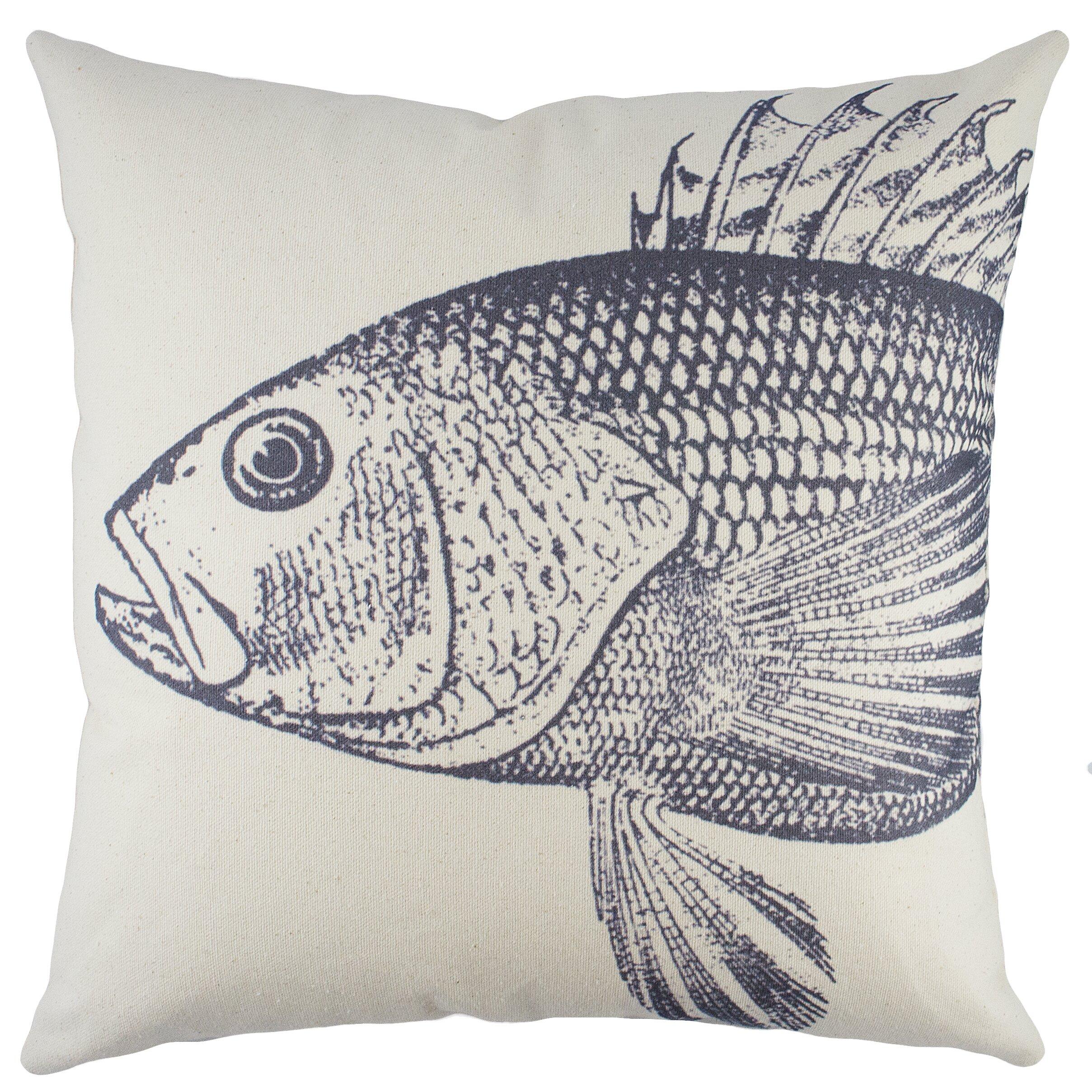 Thewatsonshop fish cotton throw pillow reviews wayfair for Fish throw pillows