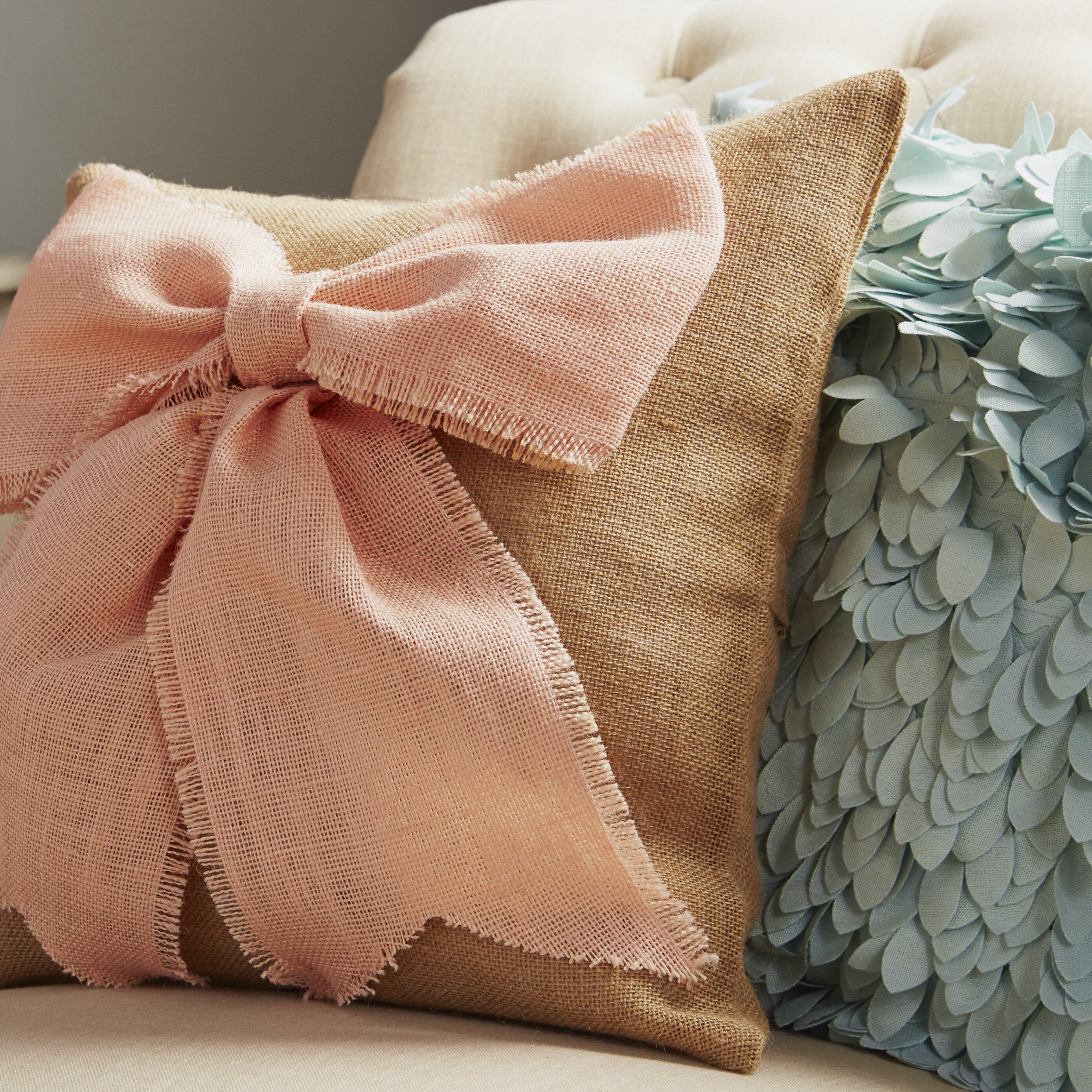 Throw Pillow With Bow : TheWatsonShop Bow Burlap Throw Pillow & Reviews Wayfair