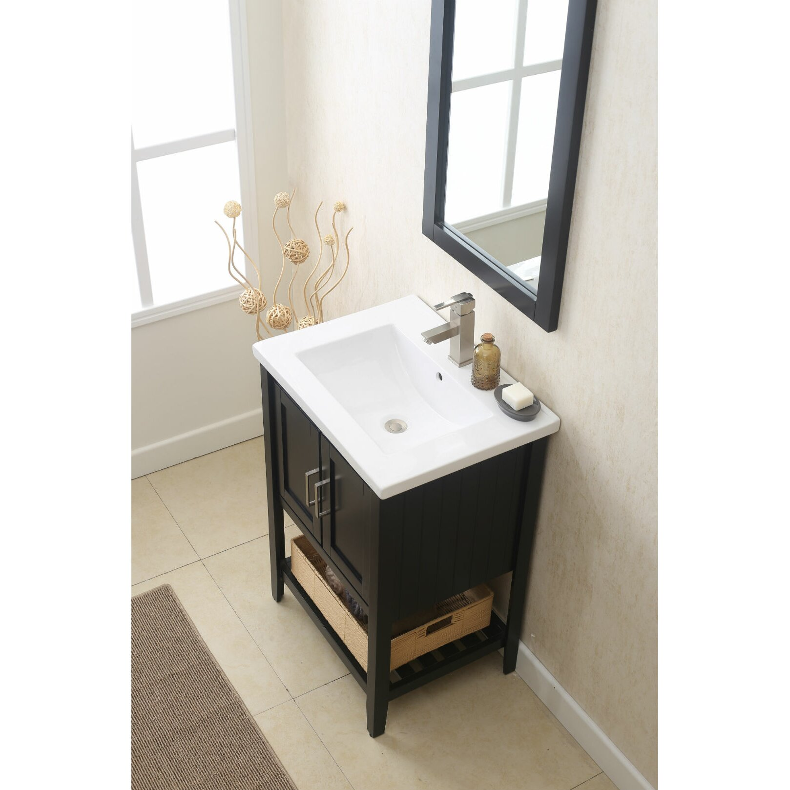 Legion furniture 24 single vanity set with mirror for Vanity mirror sets furniture