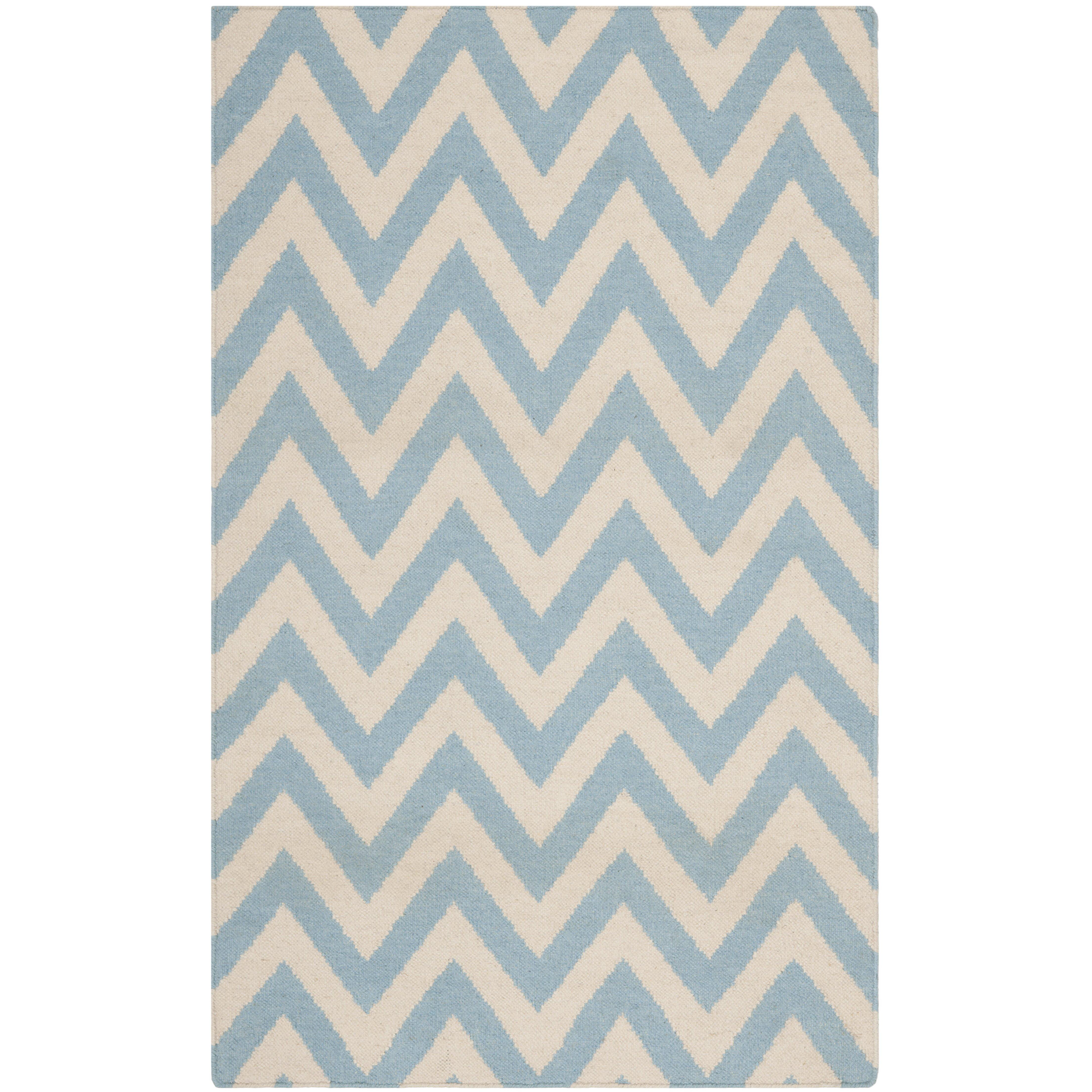 Safavieh Handgewebter Teppich Dhurrie in BlauElfenbein