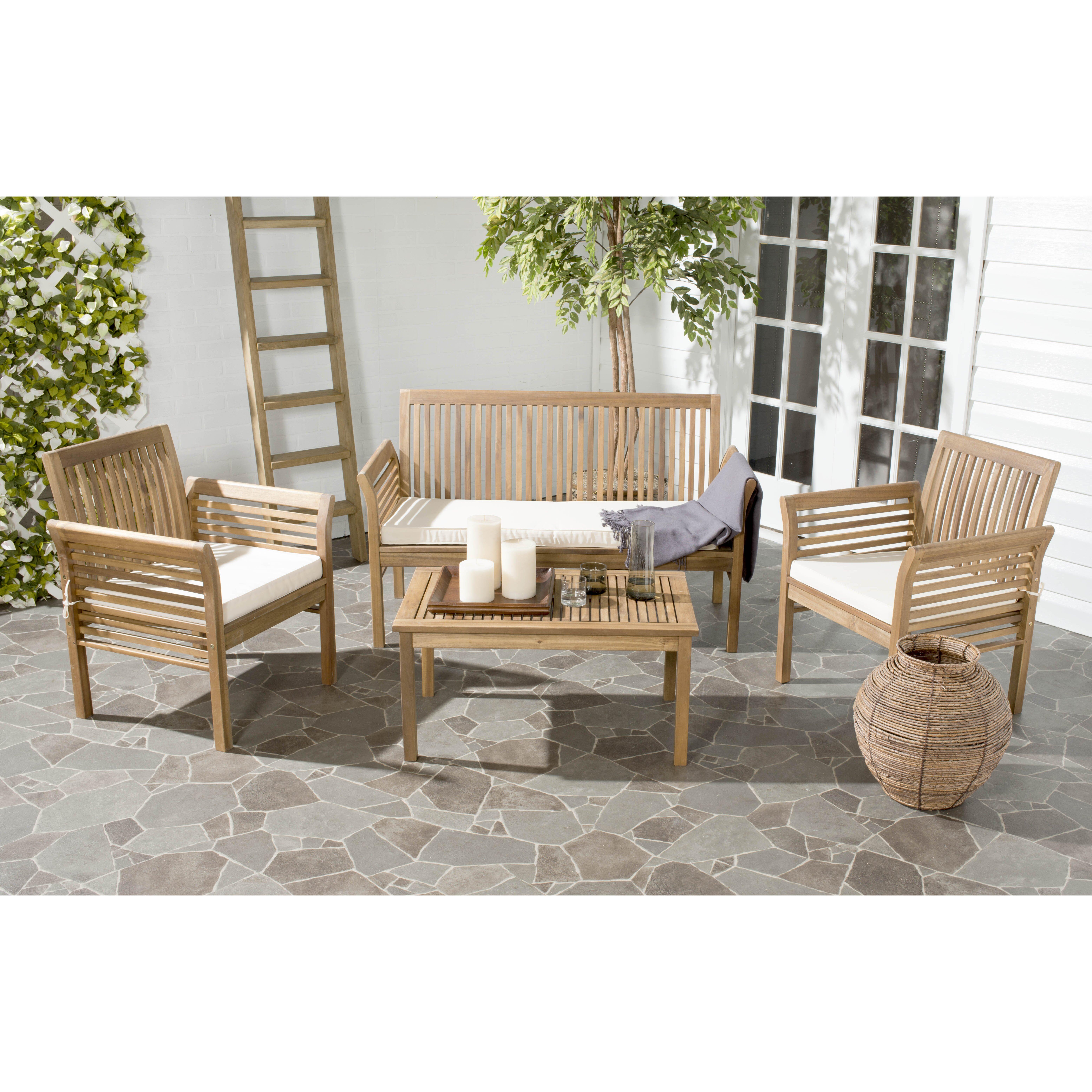 Safavieh Armin 4 Seater Outdoor Dining Set Wayfair Uk