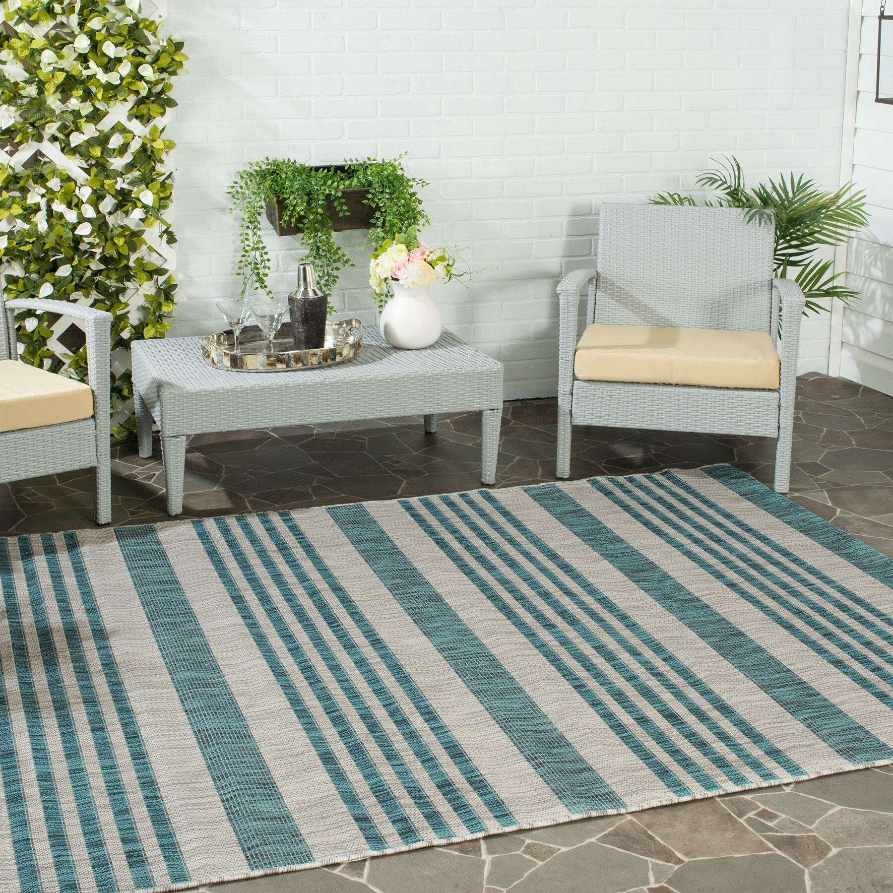 Safavieh Courtyard Grey Blue Indoor Outdoor Area Rug
