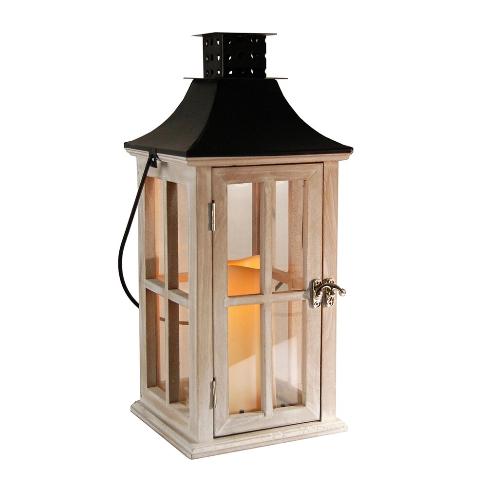 Lumabase Wooden Lantern With Metal Roof And Led Candle