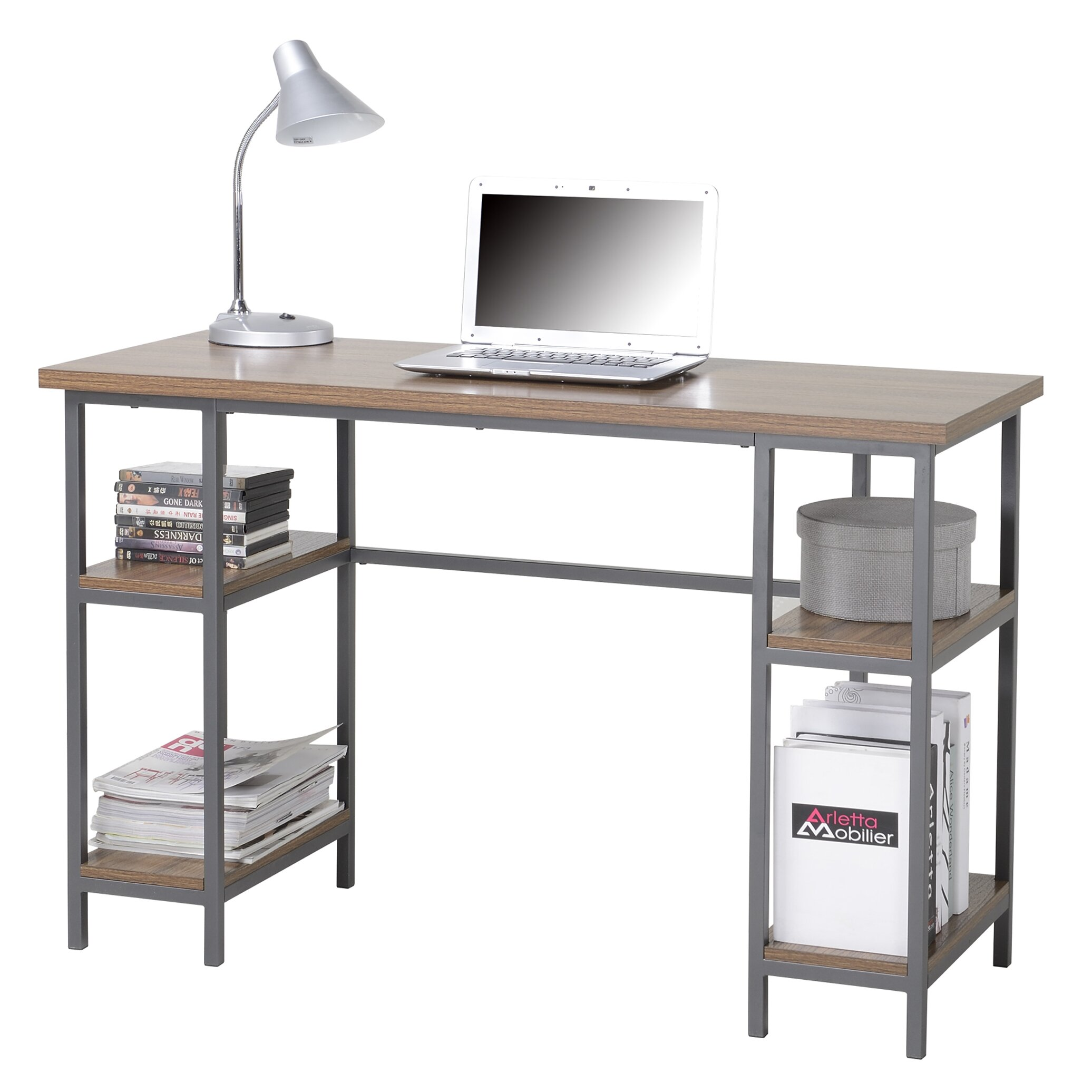 homestar computer desk with 4 shelves reviews wayfair. Black Bedroom Furniture Sets. Home Design Ideas