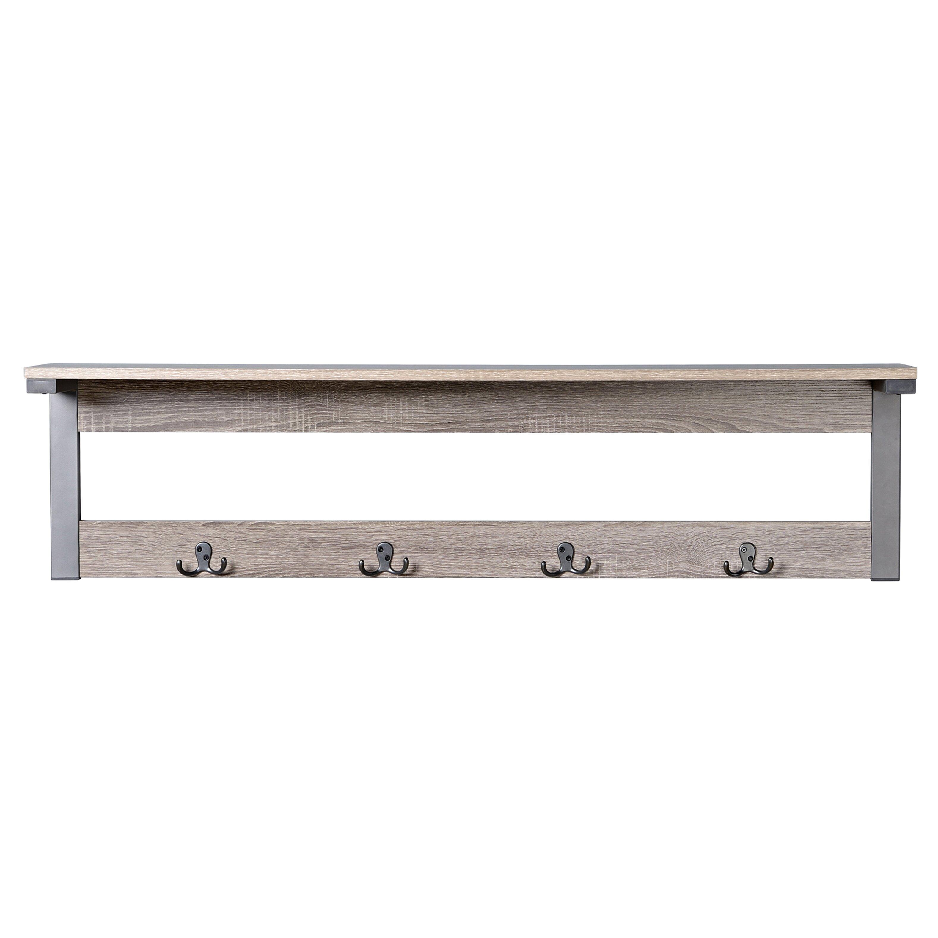 homestar 1 shelf 4 hook entryway wall mounted coat rack. Black Bedroom Furniture Sets. Home Design Ideas