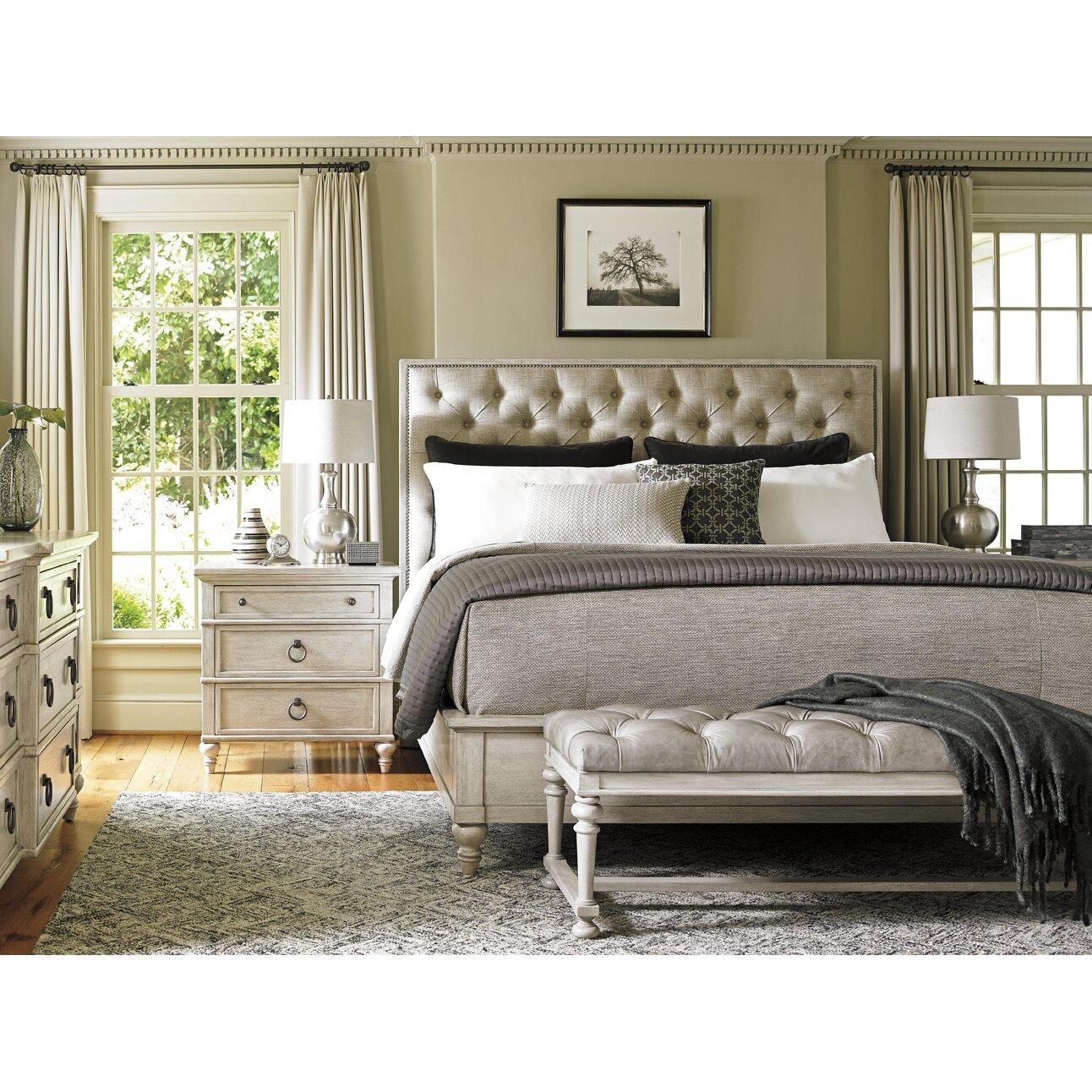 Lexington oyster bay upholstery platform customizable for Bedroom furniture upholstered beds