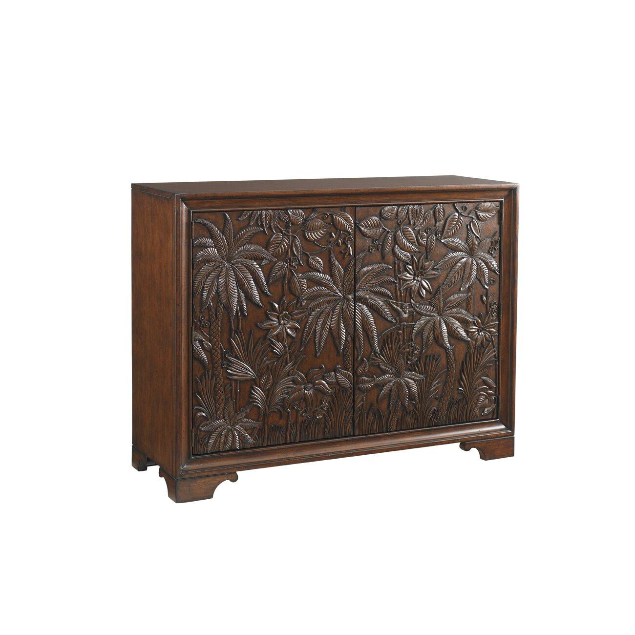 Tommy bahama home landara balboa 2 drawer carved door for Carved kitchen cabinets