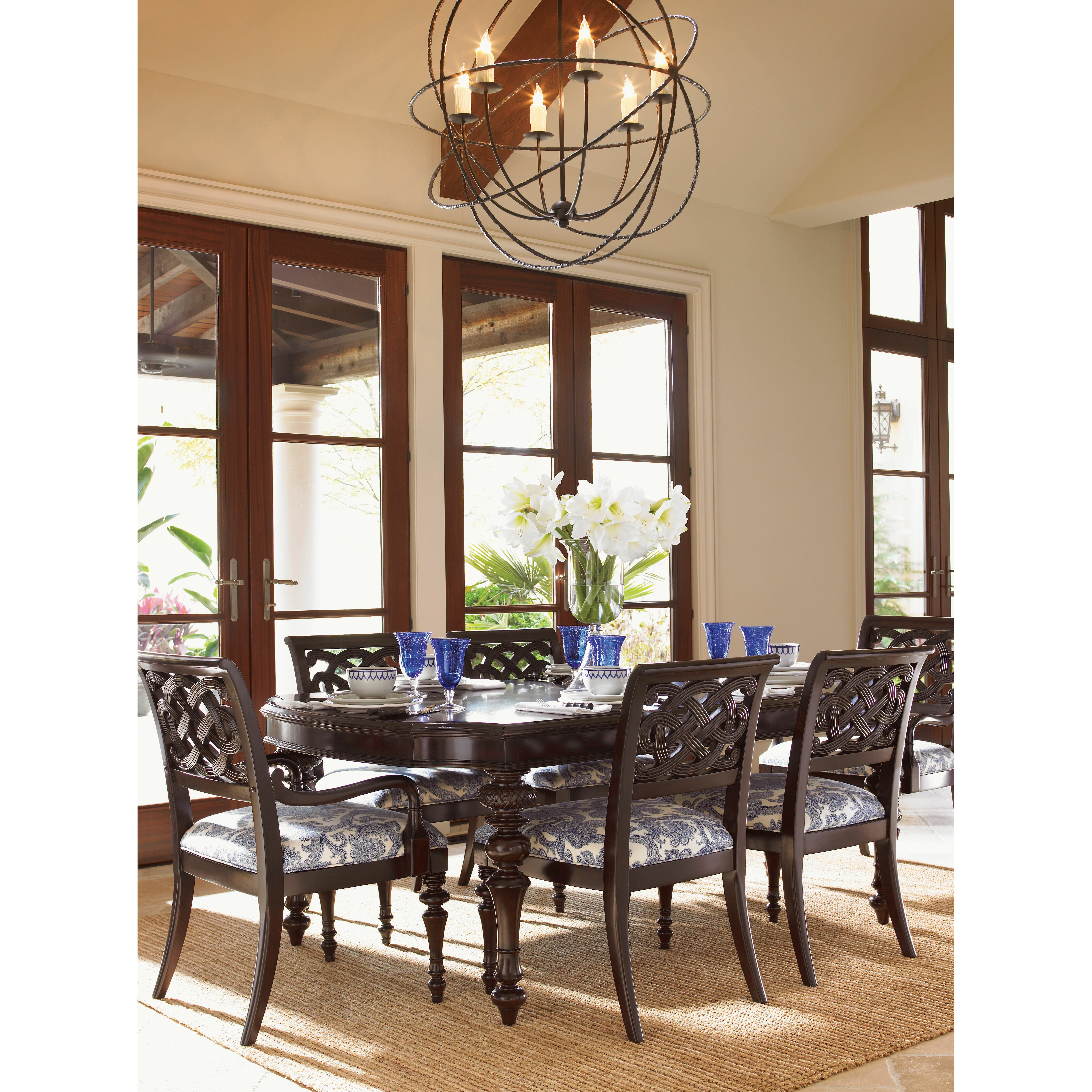 Tommy bahama home royal kahala 7 piece dining set for Kitchen set royal surabaya