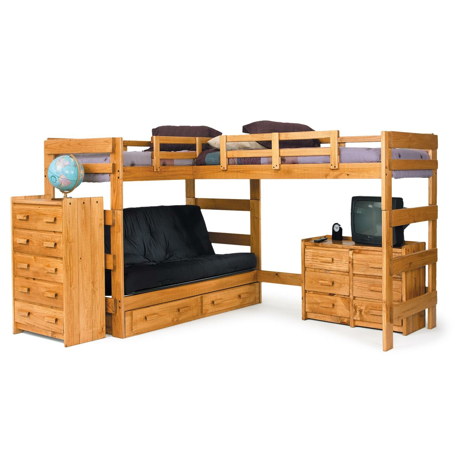 Chelsea home l shaped bunk bed customizable bedroom set for Narrow width bunk beds