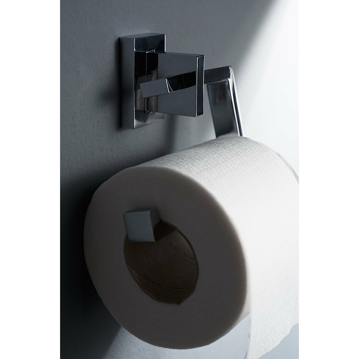 Haceka edge wall mounted toilet roll holder in chrome Glass toilet roll holder