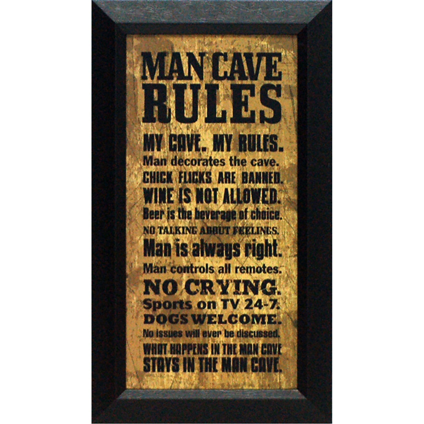 Artistic Reflections Man Cave Rules By Tonya Framed