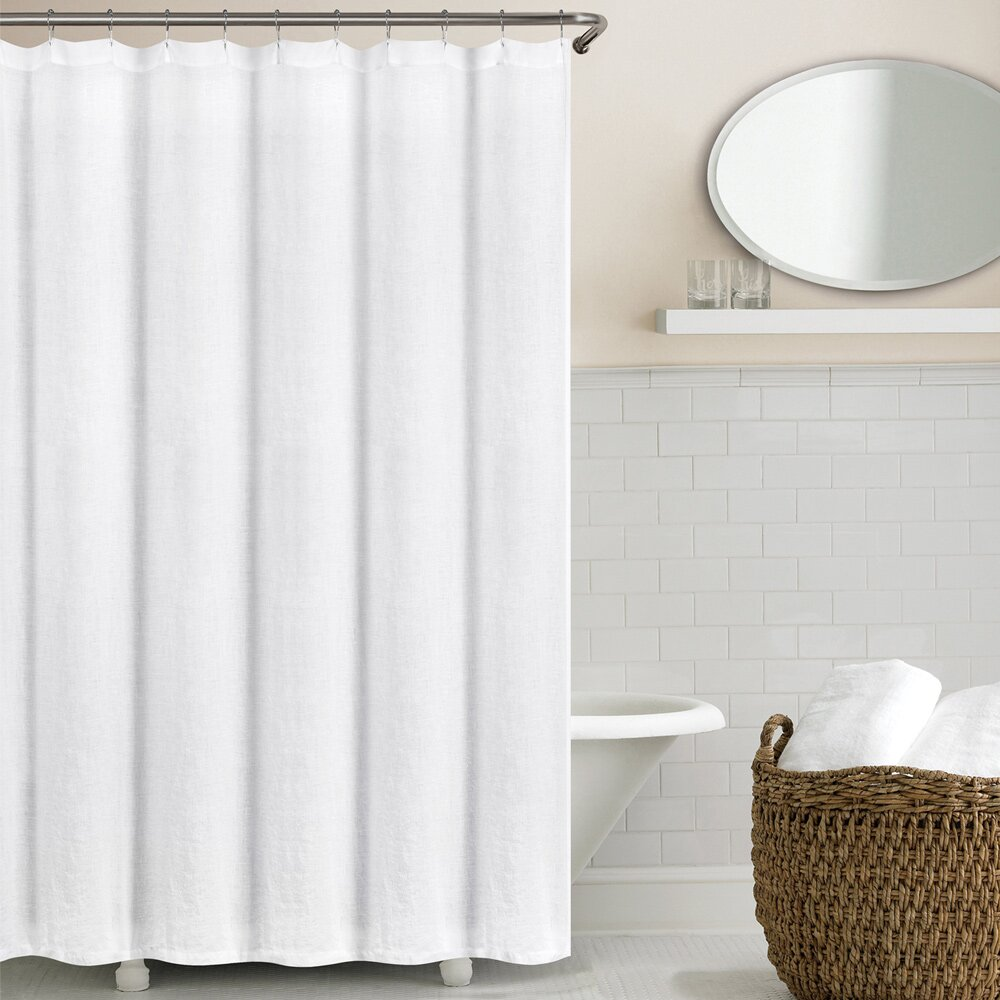 Echelon Home Washed Belgian Linen Shower Curtain Reviews Wayfair