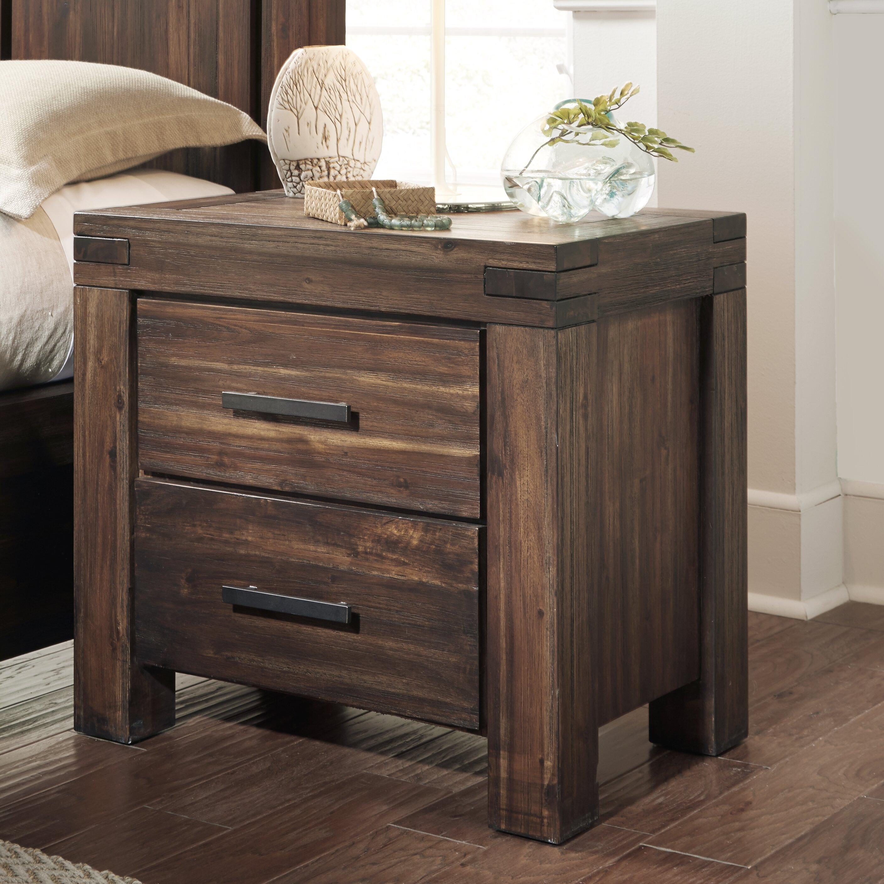 Loon peak gibson 2 drawer nightstand reviews wayfair for Tall rustic nightstands