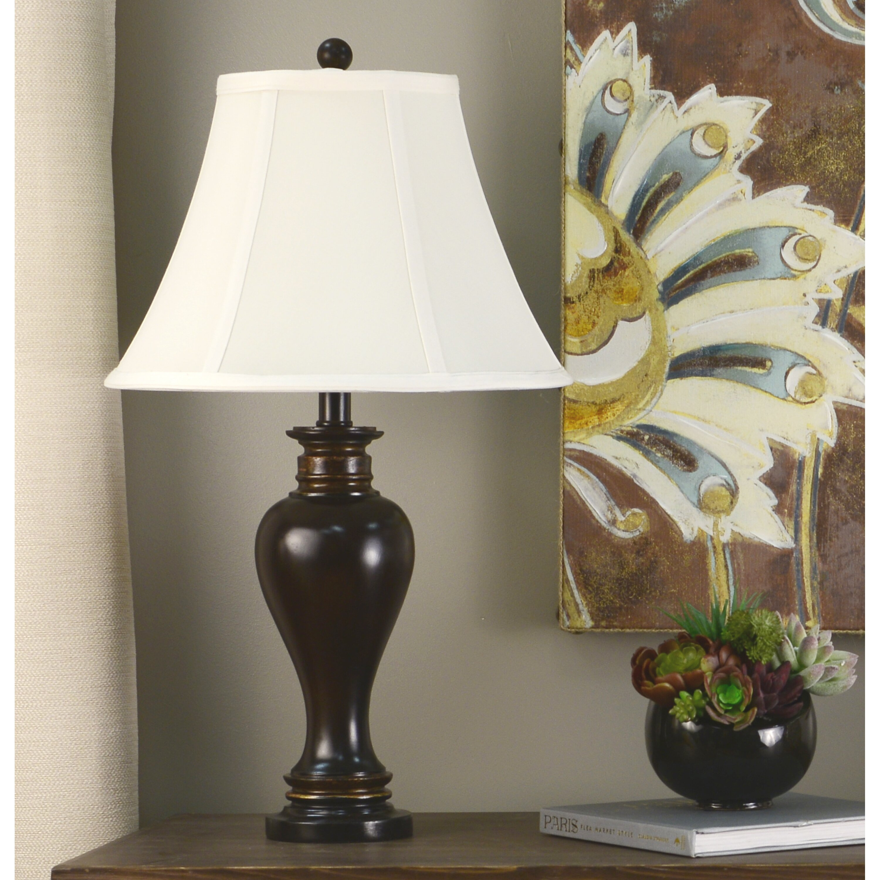 """Antique Silver Table Lamp 24 Cream Accent Lighting: Decor Therapy Ridge 25"""" Table Lamp & Reviews"""