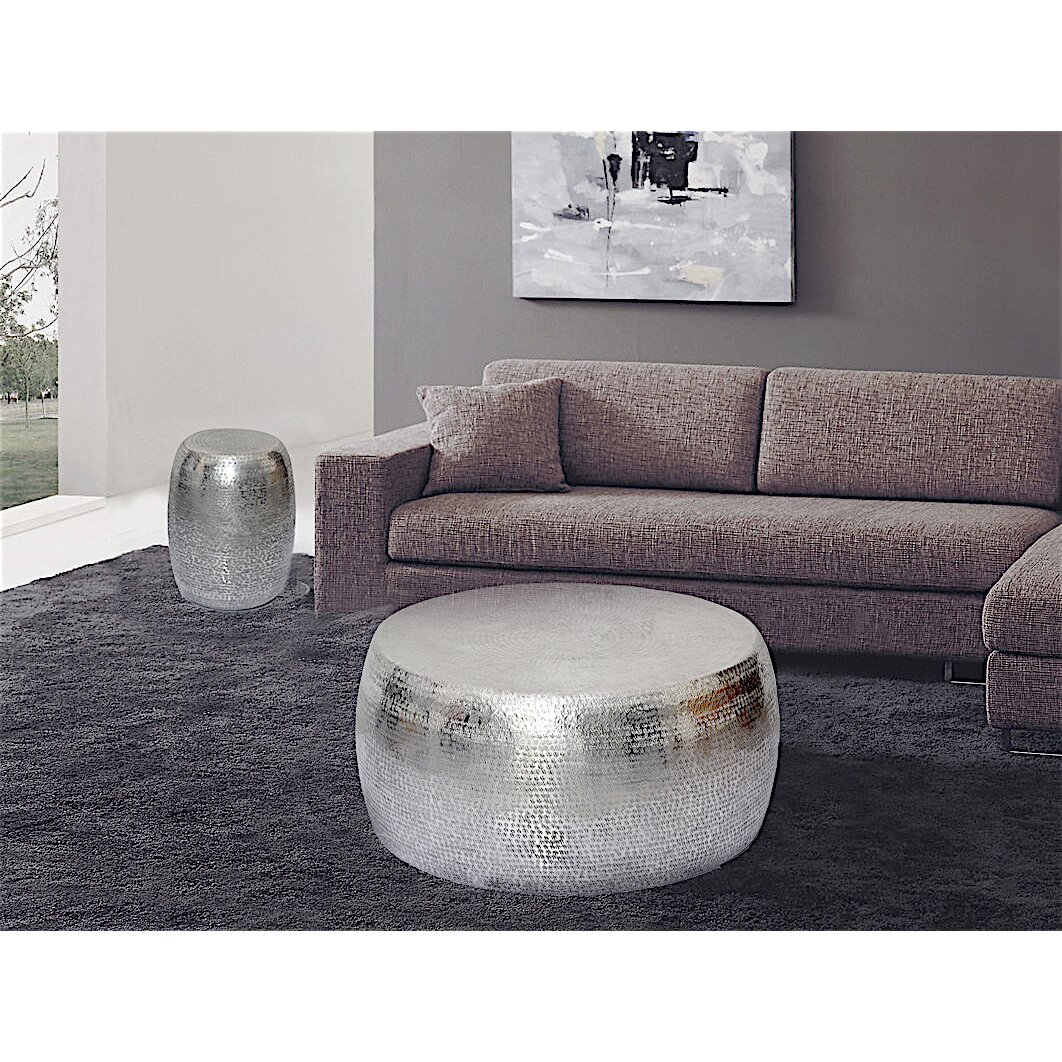 Hammered Drum Coffee Table: Fashion N You Marrakech Hammered Metal Round End Table