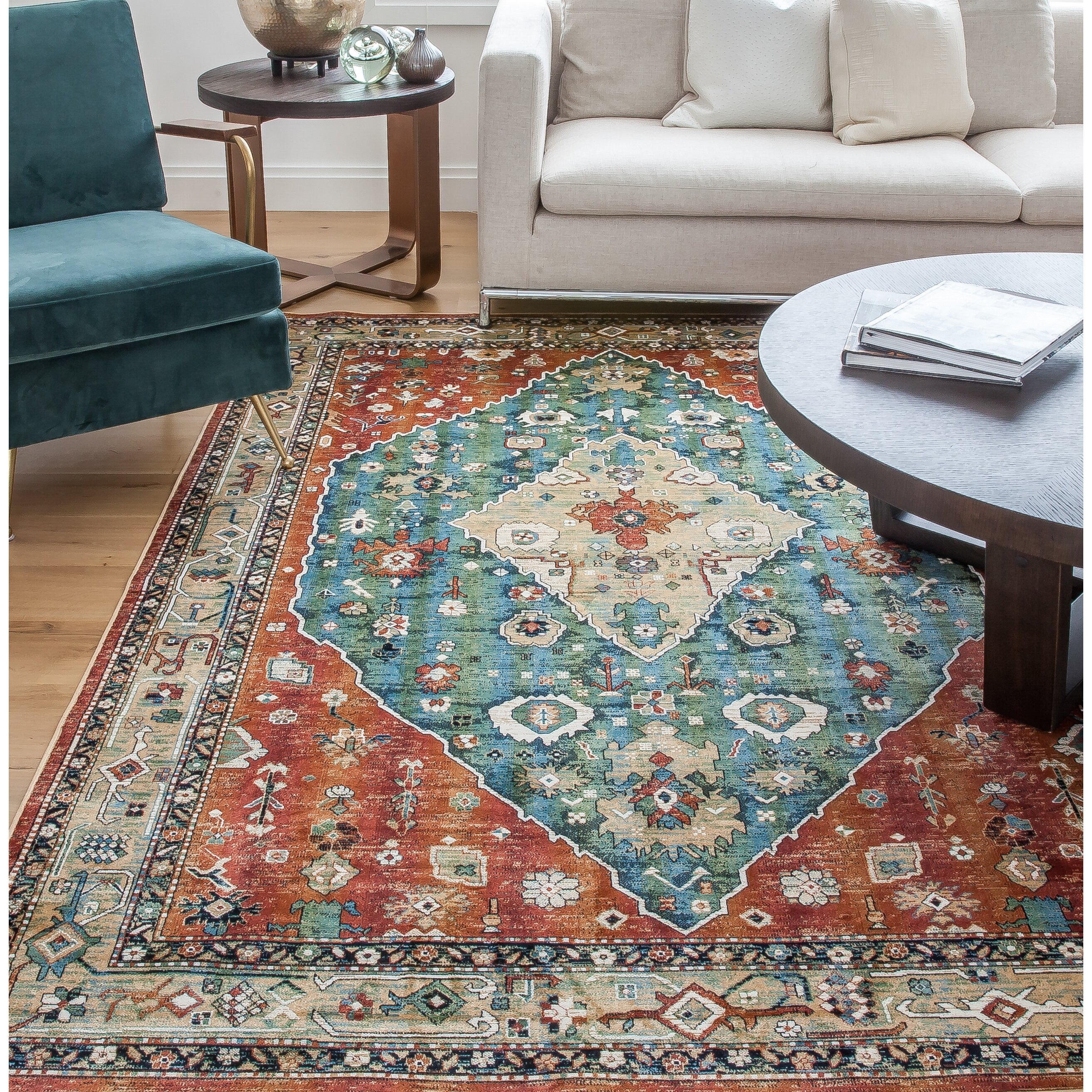 Abacasa Sonoma Aqua/Celadon/Rust/Tan Area Rug & Reviews