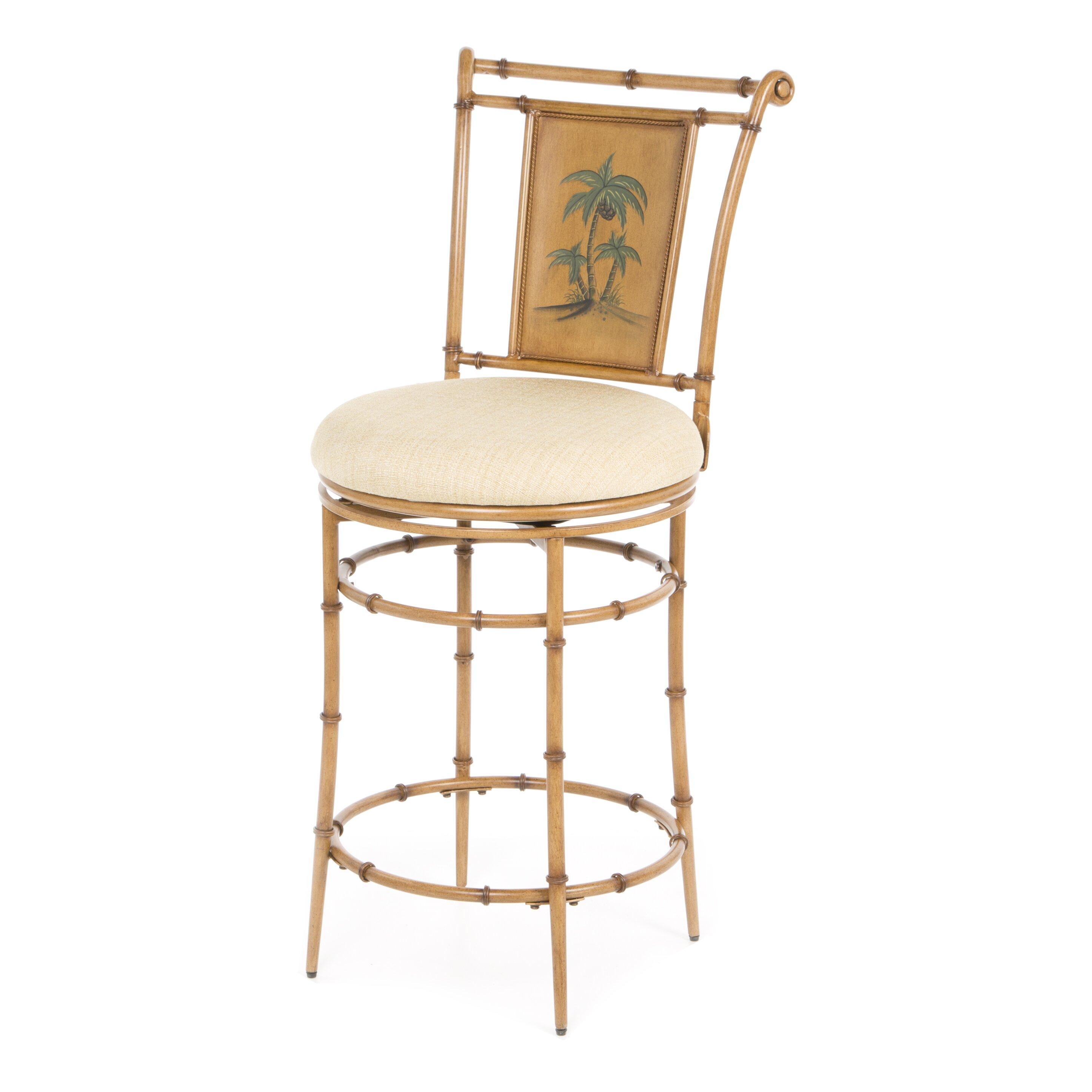Bay isle home luna 26quot swivel bar stool reviews wayfairca for Tropical home bar furniture
