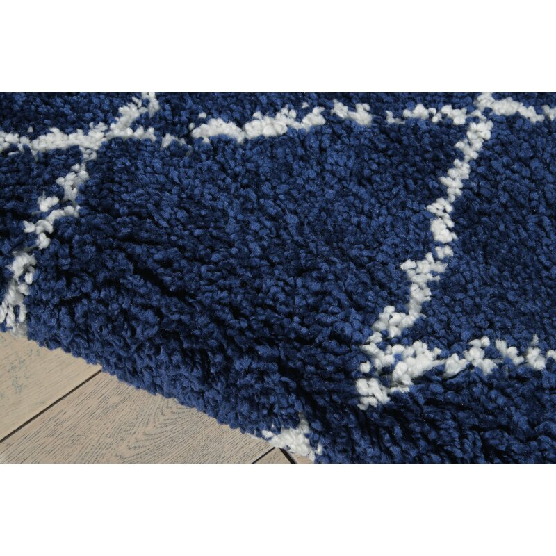 Navy White Area Rug