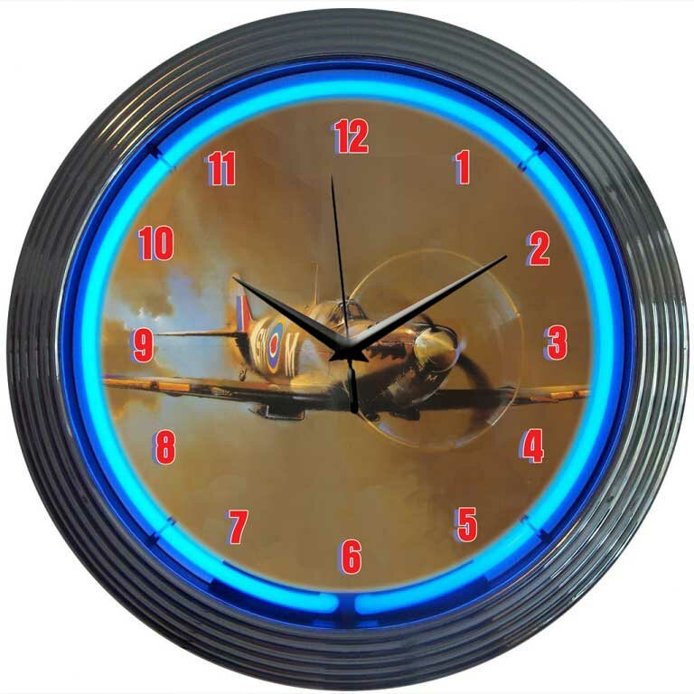 "Neonetics Retro 15"" WWII Spitfire Airplane Wall Clock ..."