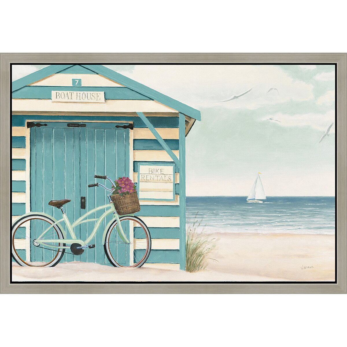 Green leaf art beach bicycle i framed painting print amp reviews