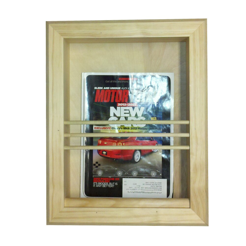 Wg wood products bevel frame recessed magazine rack reviews wayfair for Recessed in the wall bathroom magazine rack