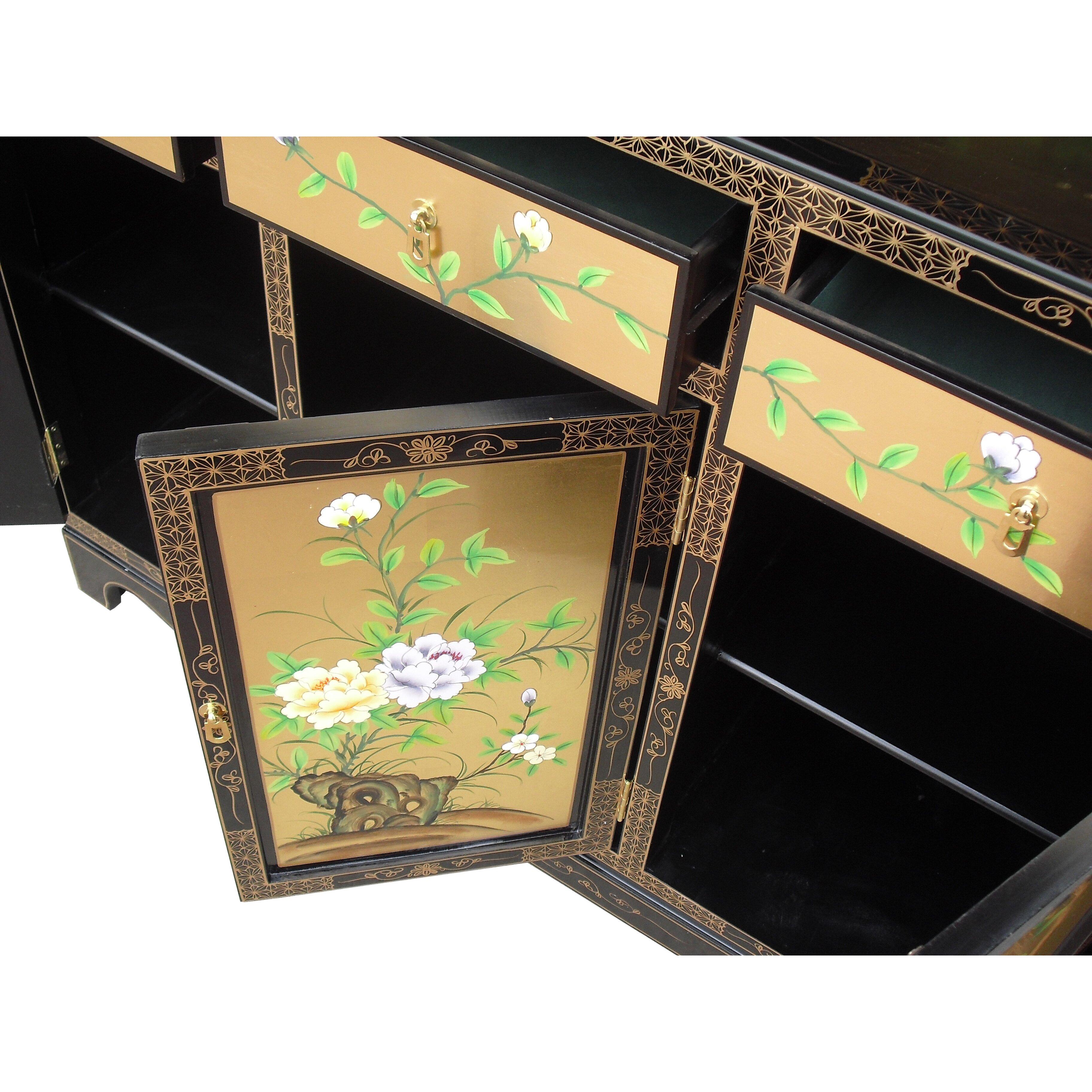 Grand international decor gold leaf 3 door 3 drawer for International decor doors