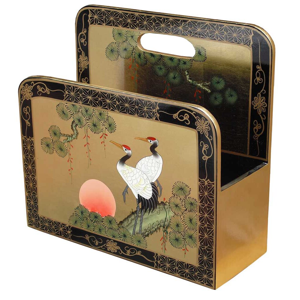 Grand international decor gold leaf crane magazine rack for International decor uk