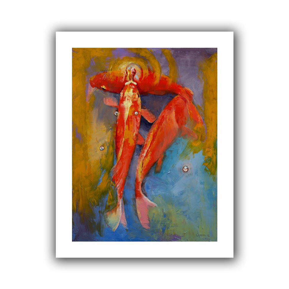 Artwall koi bubbles 39 by michael creese painting print on for Koi canvas print