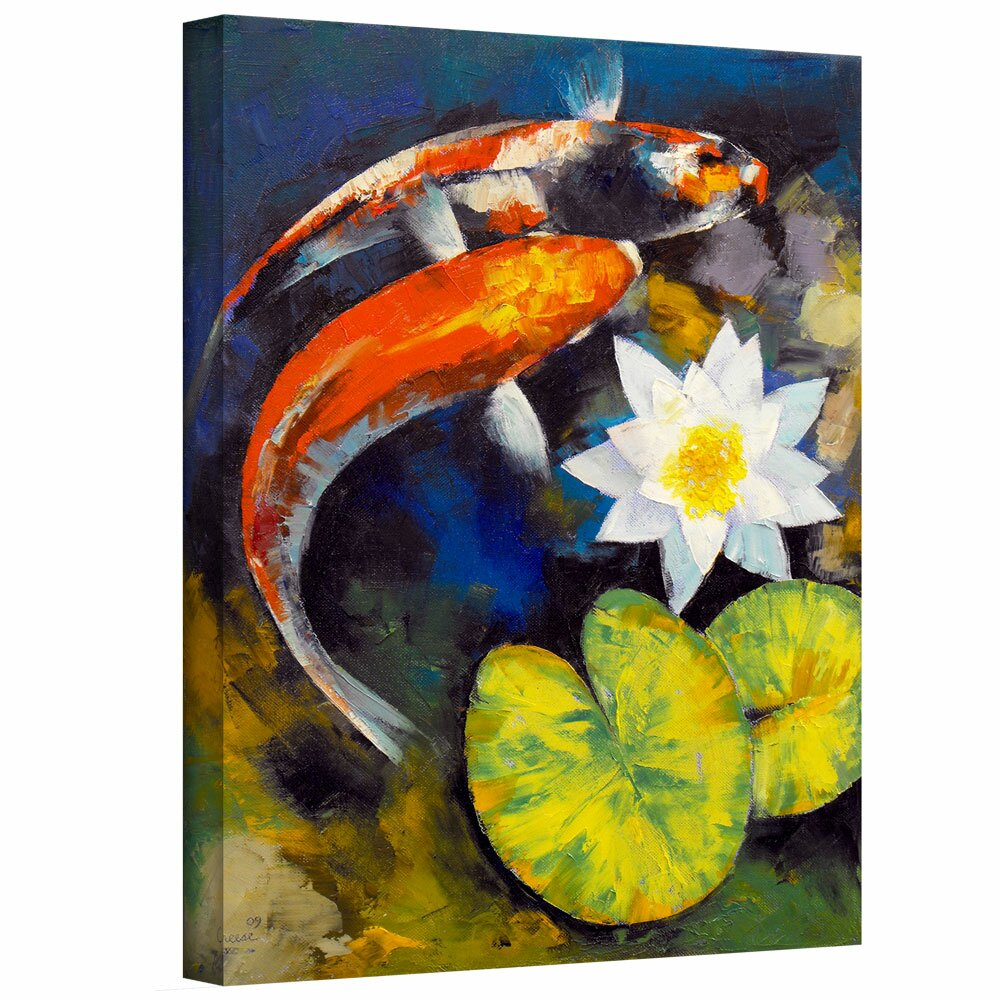 Artwall 39 koi fish and water lily 39 by michael creese for Koi fish price guide