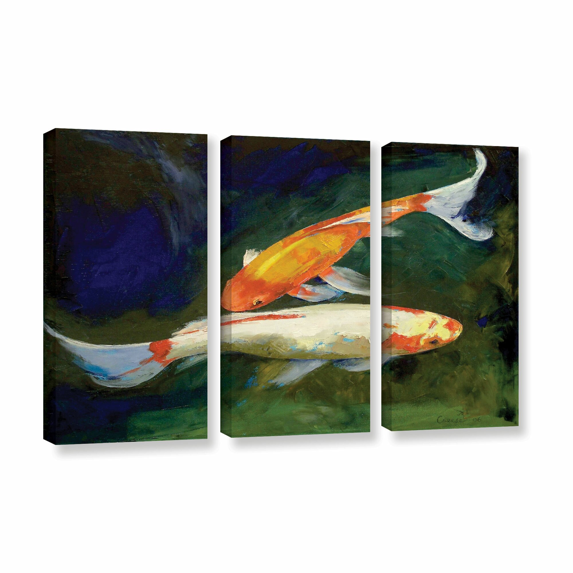 Artwall feng shui koi fish by michael creese 3 piece for Koi canvas print