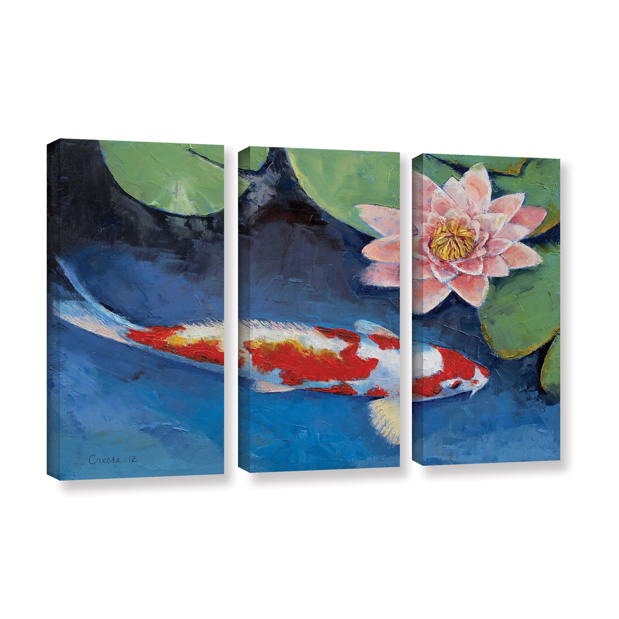 Artwall koi and water lily by michael creese 3 piece for Koi canvas print