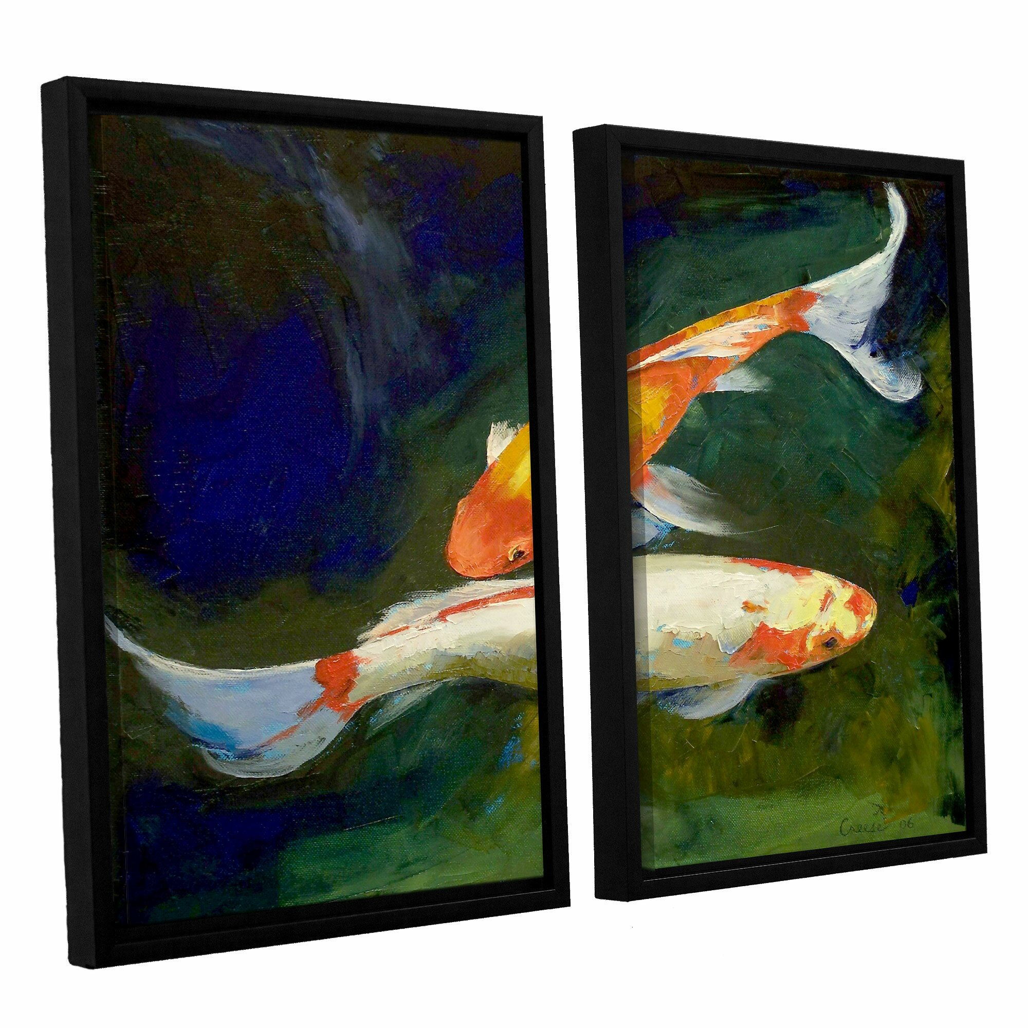 Artwall feng shui koi fish by michael creese 2 piece for Koi canvas print