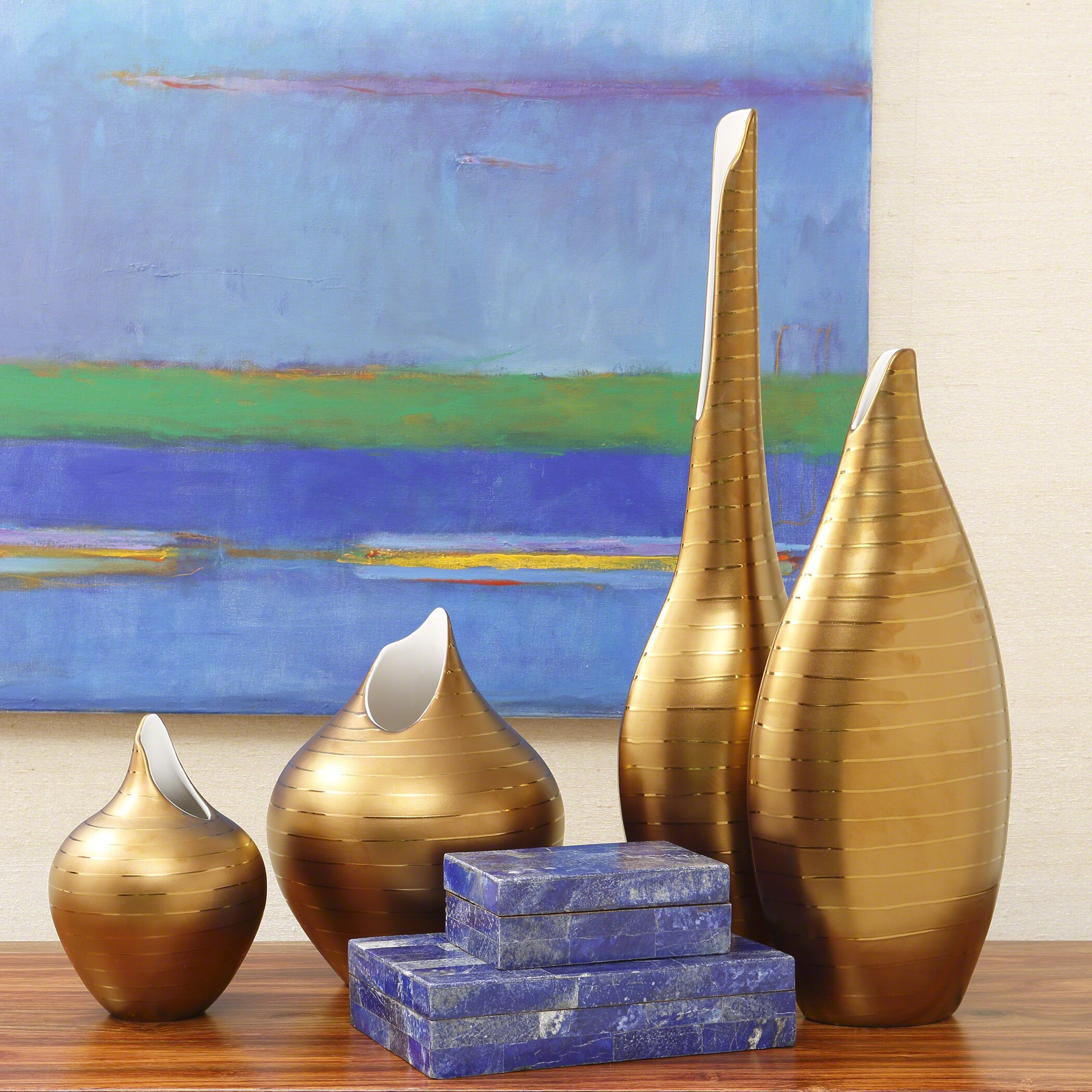 Global Views Vase: Global Views Golden Stripe Vase
