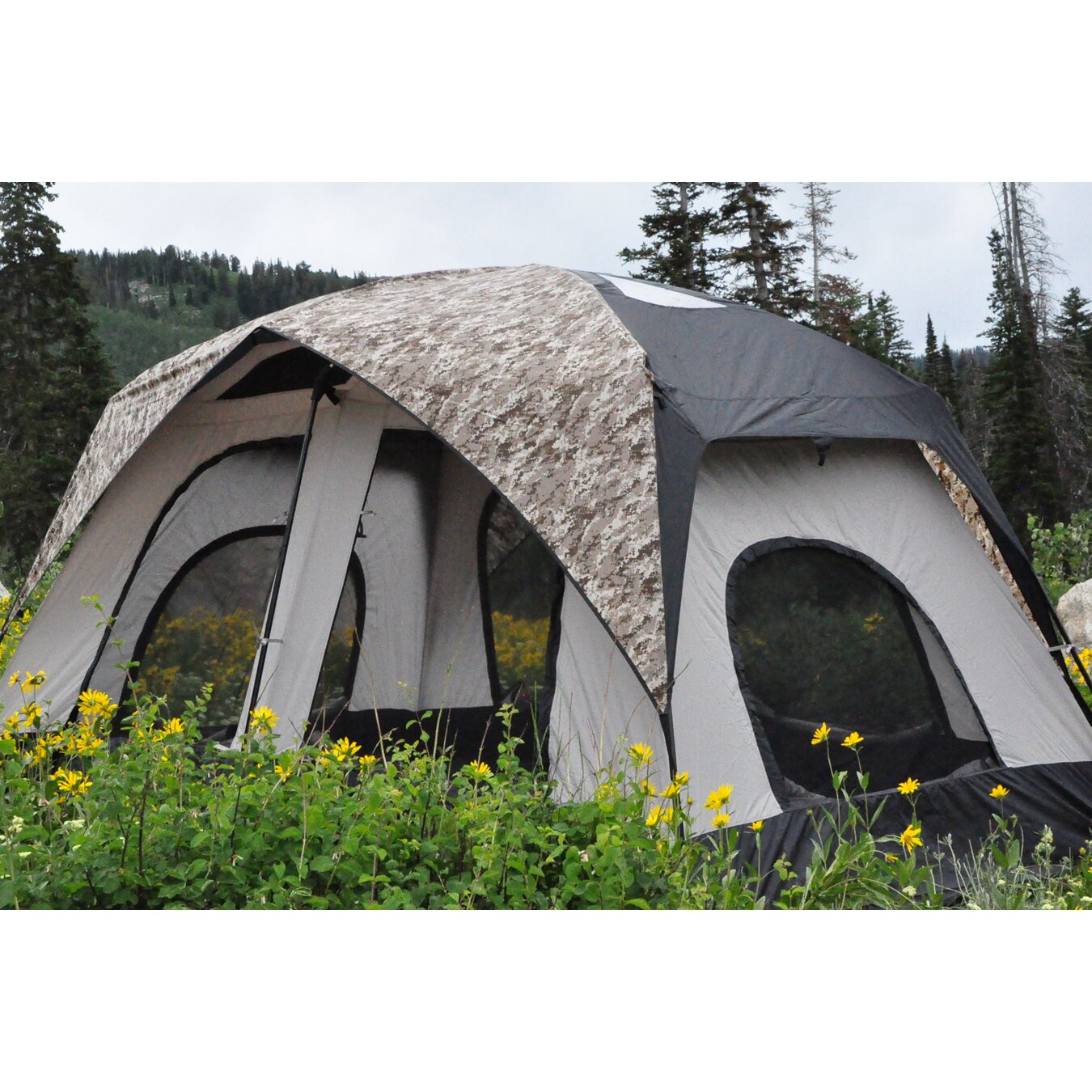 Black pine pine cabin 8 person tent reviews wayfair for What is a tent cabin