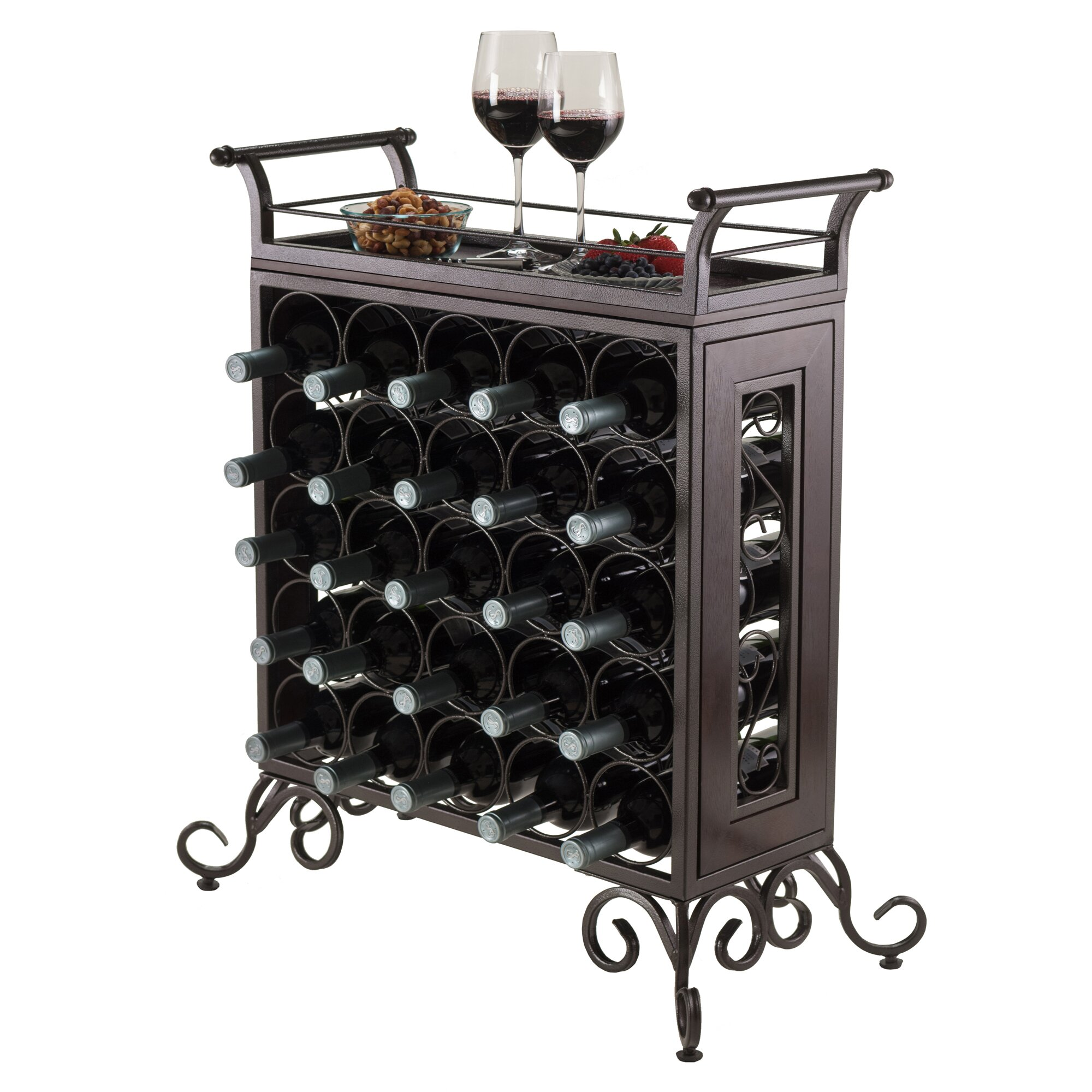 Winsome silvano 25 bottle floor wine rack reviews wayfair for Floor wine rack