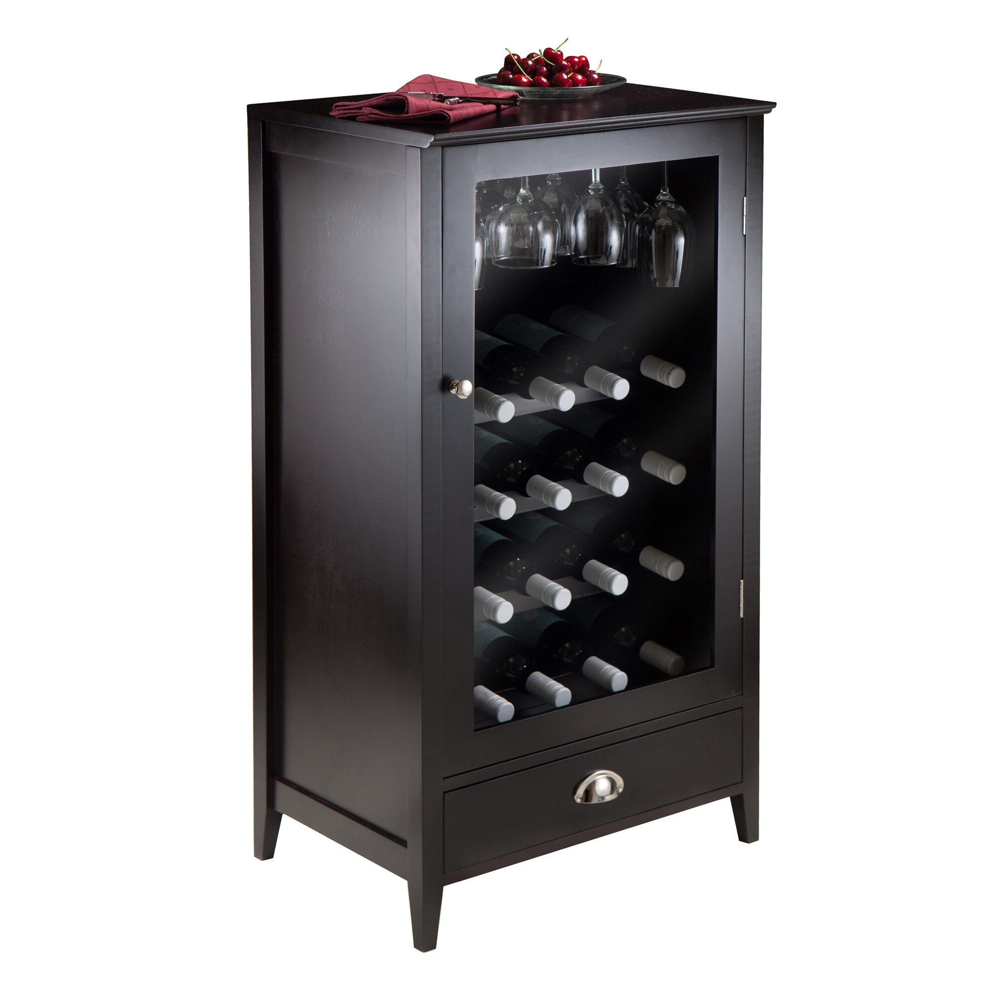 Winsome bordeaux 20 bottle floor wine cabinet reviews for Floor wine cabinet