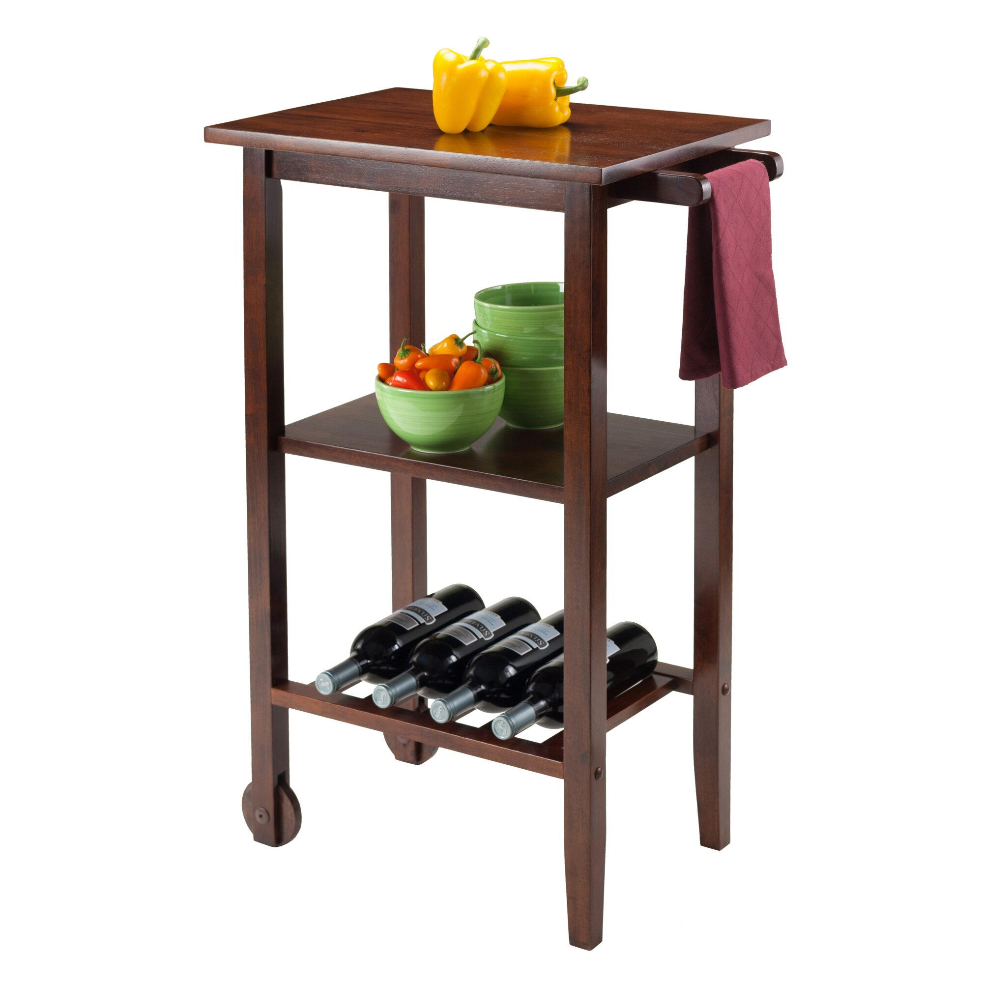 Winsome Stevenson Kitchen Cart With Wood Top Reviews Wayfair