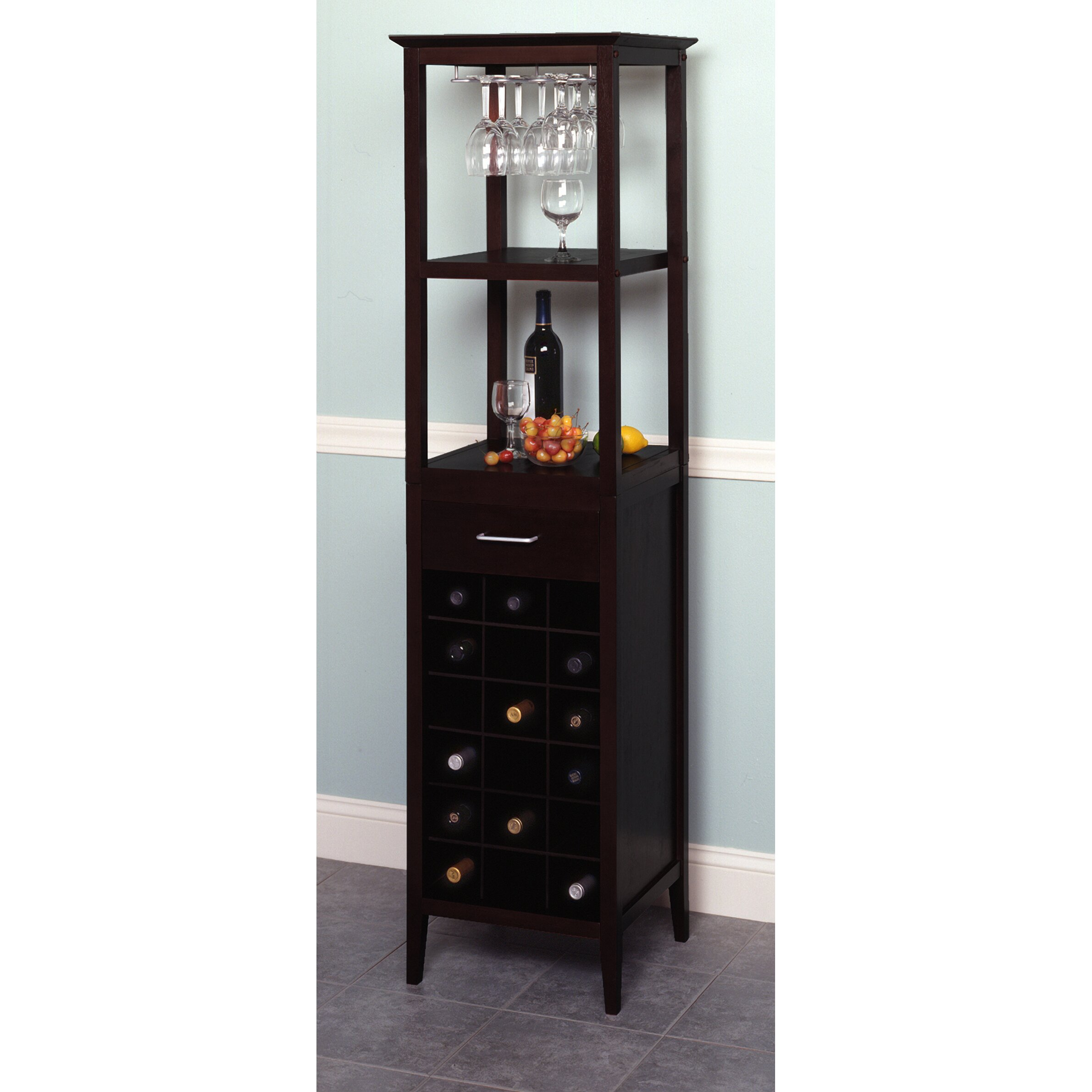 Winsome espresso 18 bottle floor wine rack reviews for Floor wine rack
