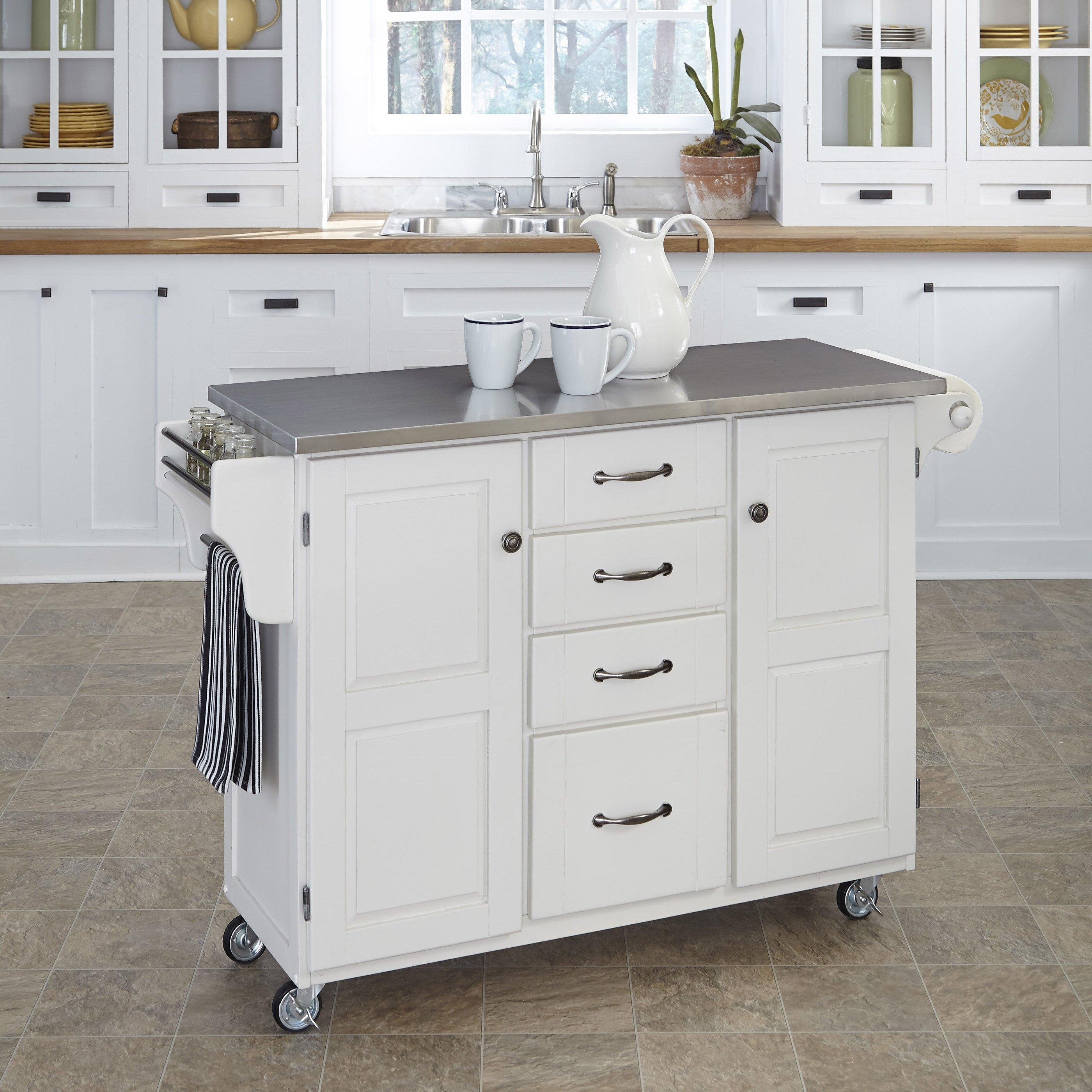 Home styles create a cart kitchen island with stainless for Homestyles kitchen island