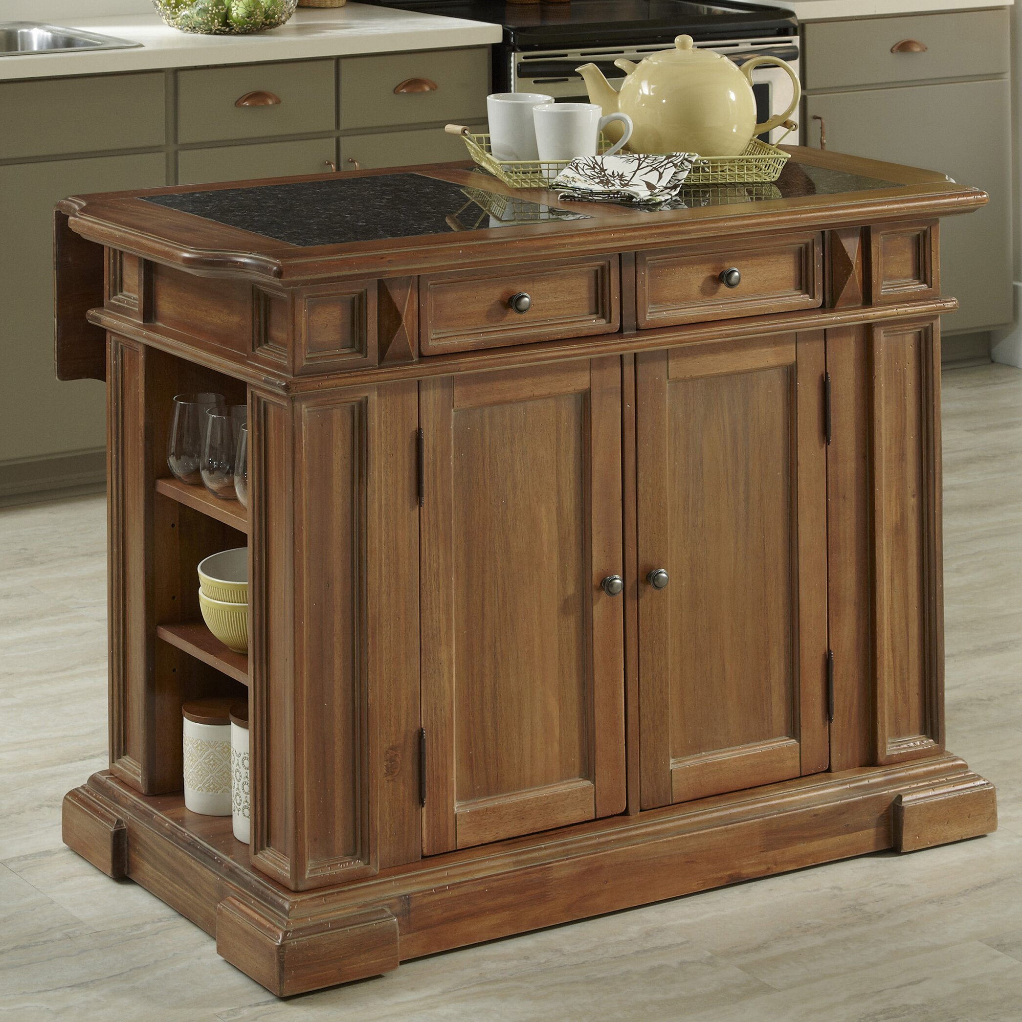 Home styles americana kitchen island with granite top for Americana style house
